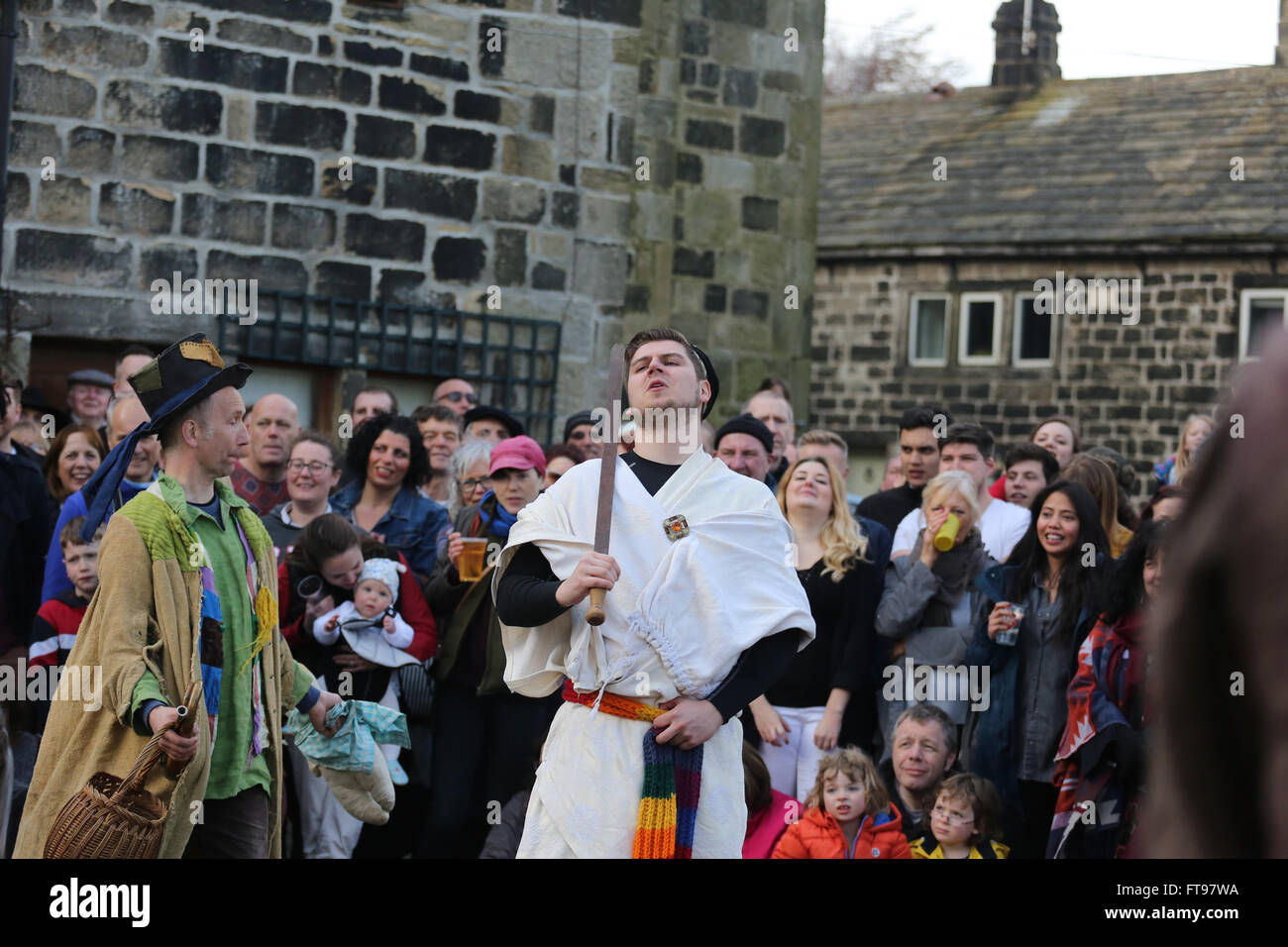 "Heptonstall, UK, 25th March 2016. ""Toss Pot"" and the ""King of Egypt"" during a performance of the pace egg play in Stock Photo"
