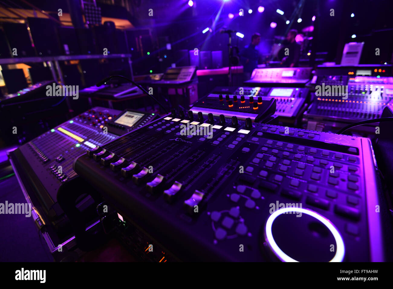 Treppendorf, Germany. 24th Mar, 2016. Several mixing boards can be seen in the Musikhaus Thomann in Treppendorf, - Stock Image