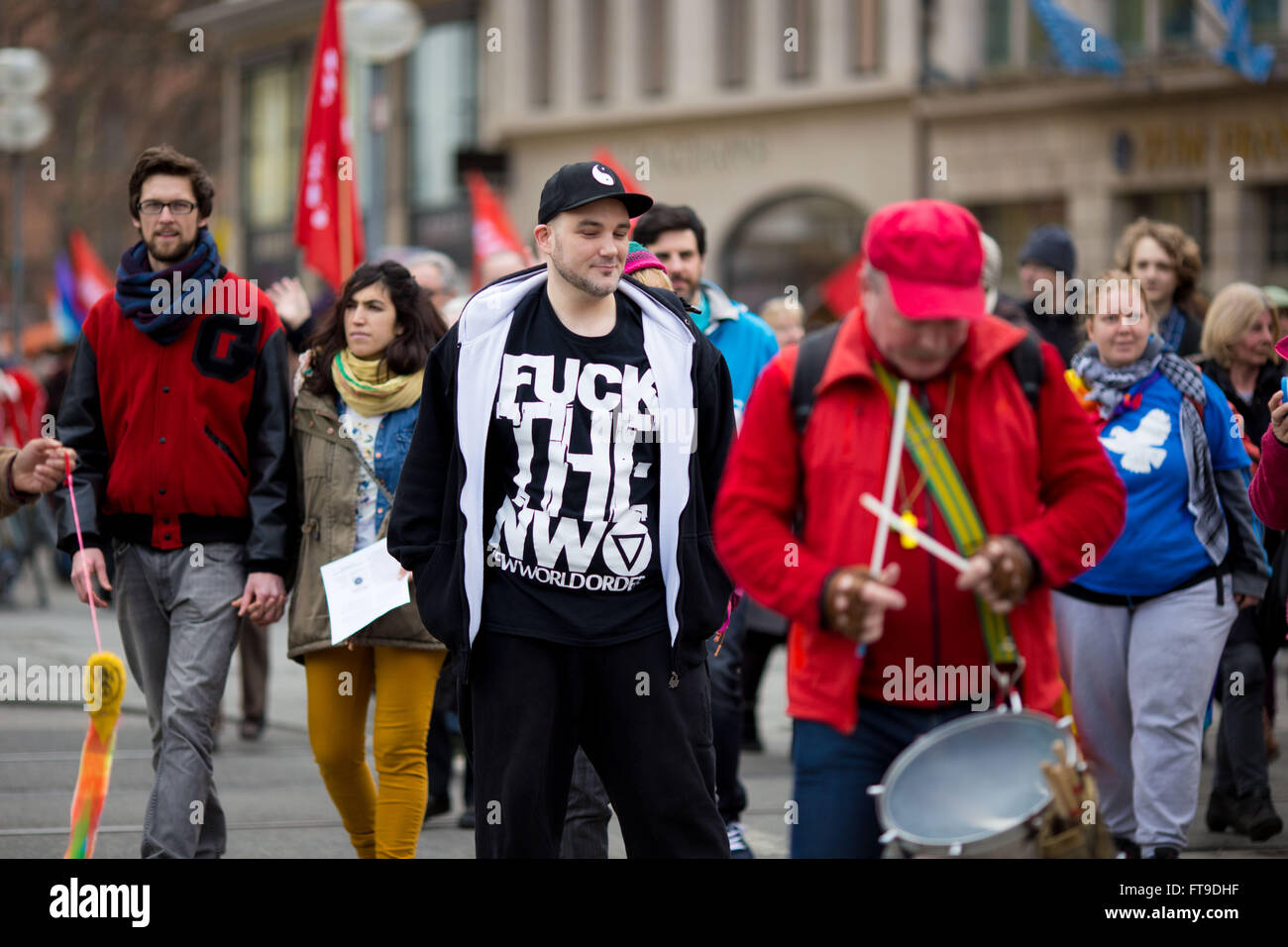 Munich, Germany. 26th March, 2016. 500 people rallied through Munich on the traditional easter-peace march. The Stock Photo