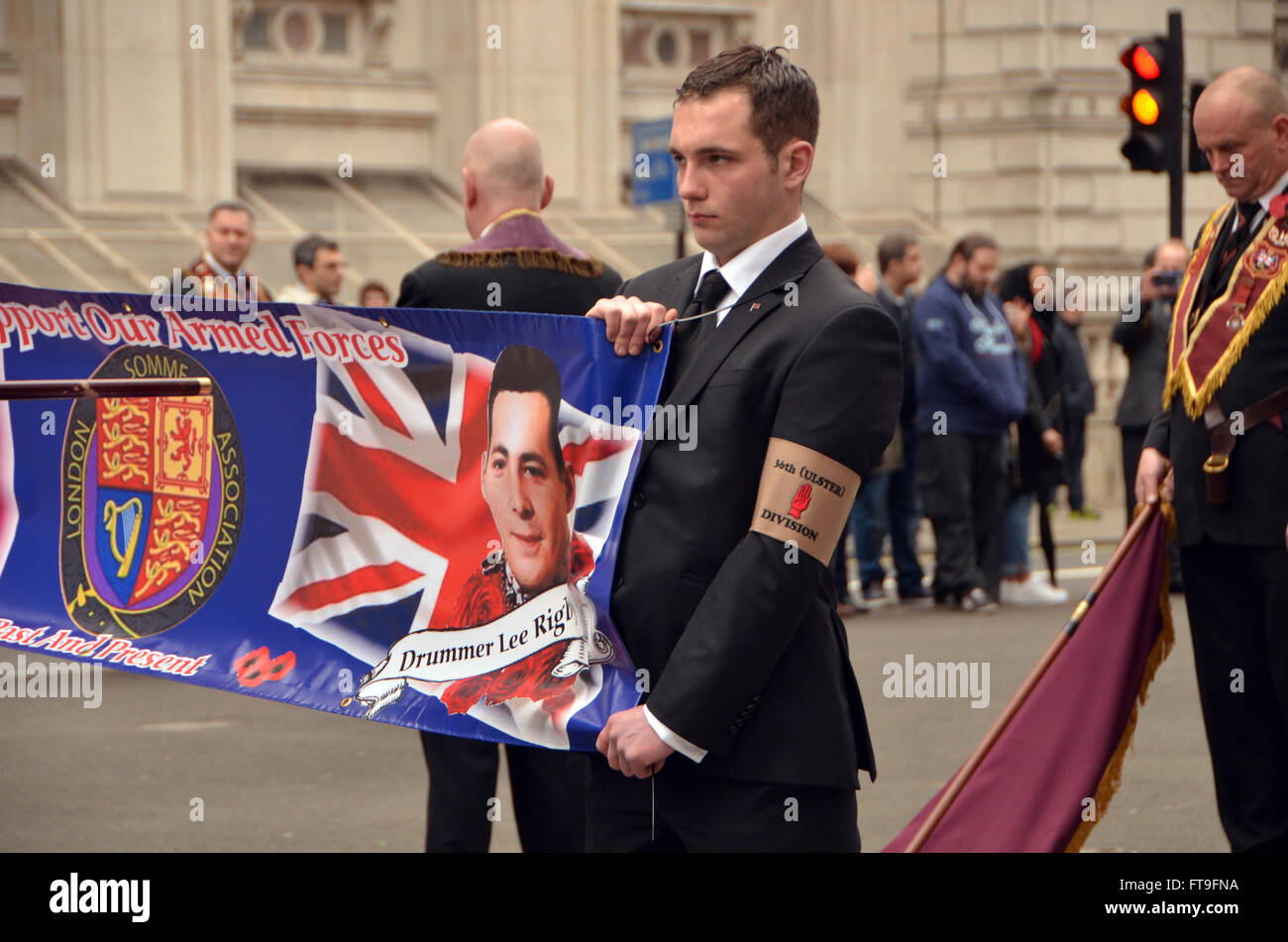 London, UK, 26 March 2016, Lord Carson 1916 Easter Irish Unionist uprising parade down Whitehall to lay wreaths - Stock Image