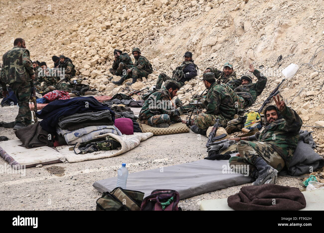 Palmyra, Syria. 26th Mar, 2016. Soldiers of the Syrian government army at the Fahkr ad-Din al-Maani castle in Palmyra, - Stock Image