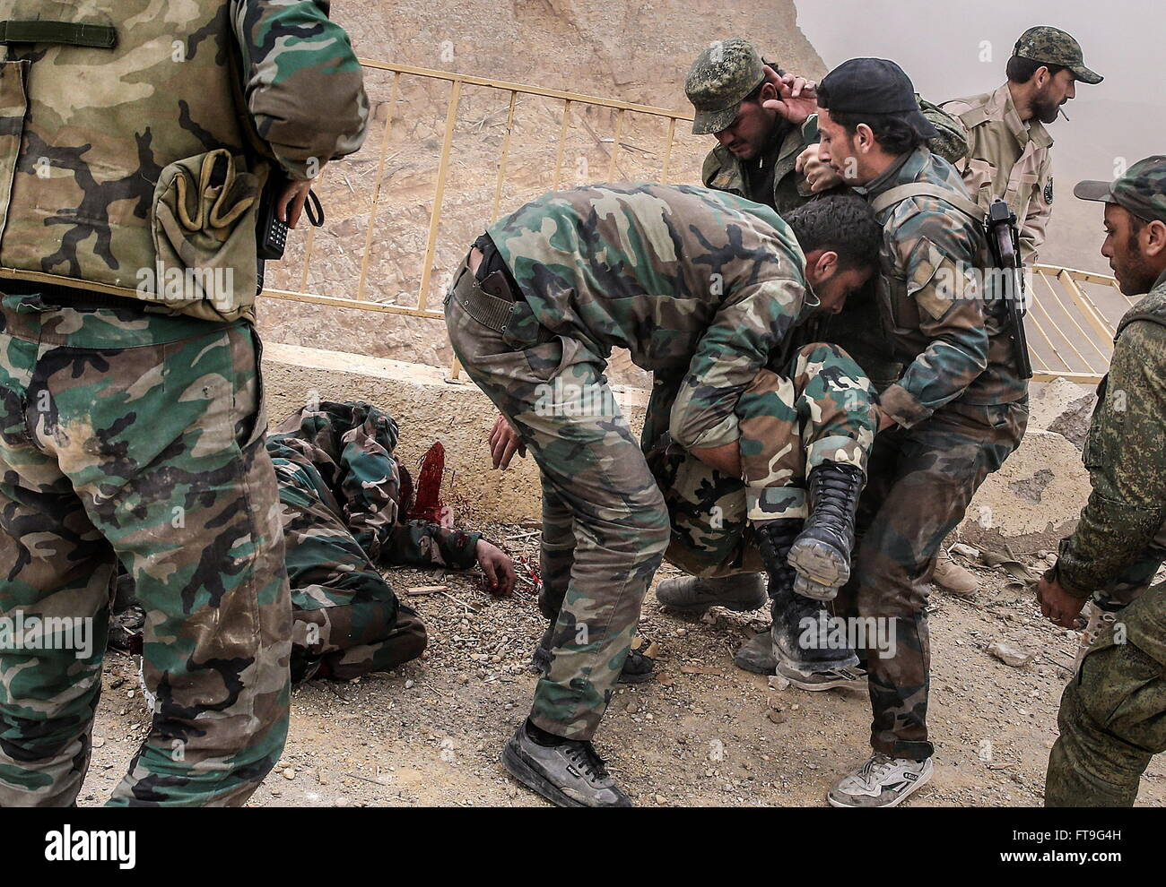 Palmyra, Syria. 26th Mar, 2016. Injured soldiers of the Syrian government army at the Fahkr ad-Din al-Maani castle Stock Photo