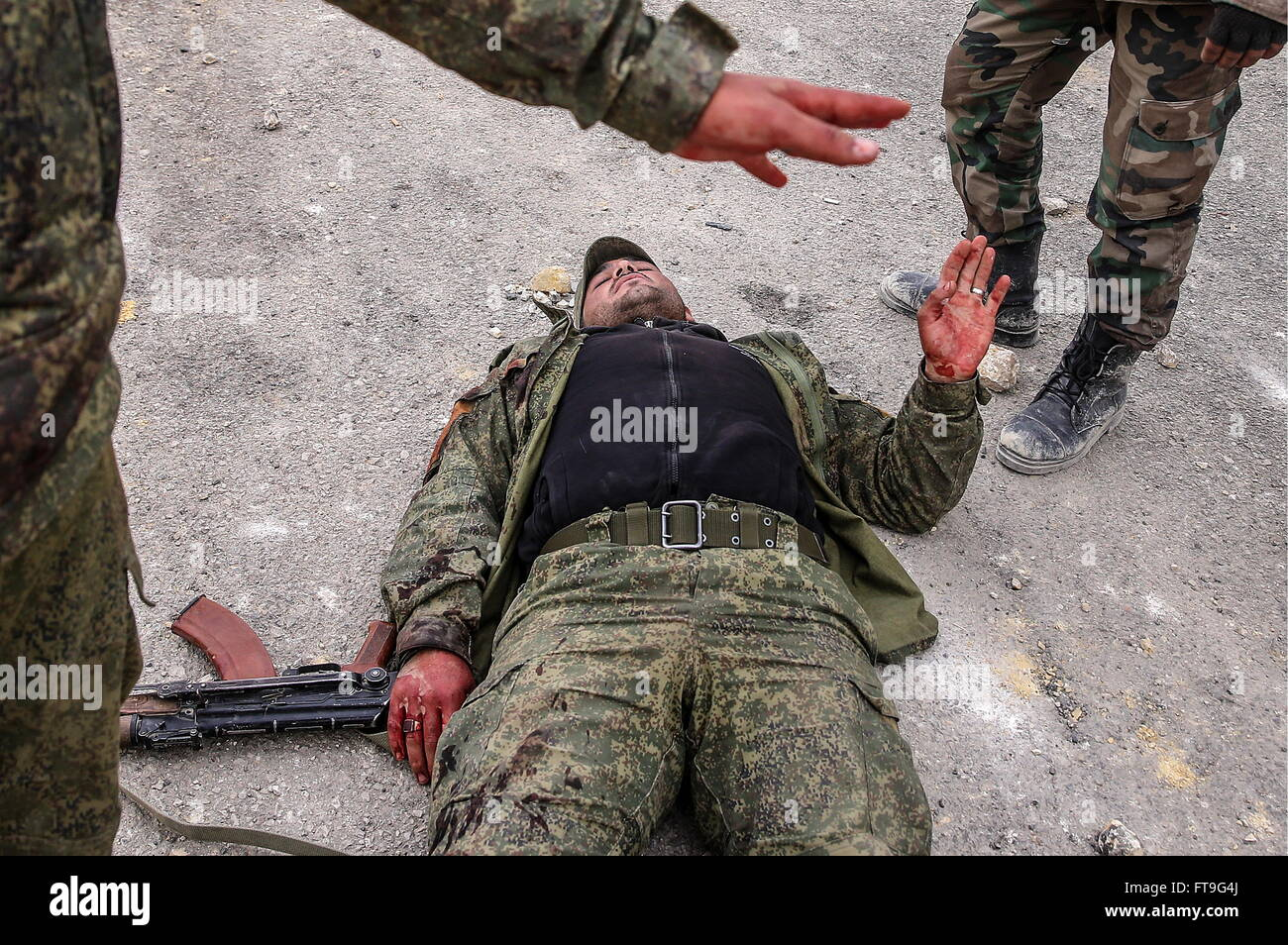 Palmyra, Syria. 26th Mar, 2016. A shell-shocked soldier of the Syrian government army at the Fahkr ad-Din al-Maani - Stock Image