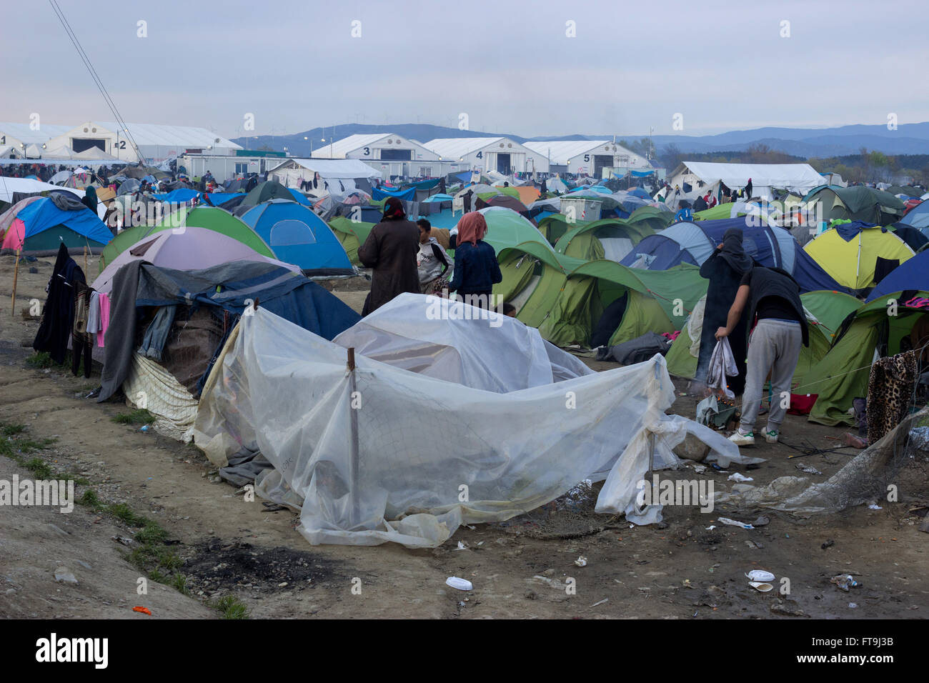 Idomeni, Greece. 26th March, 2016. After the closure of the Greek-Skopje borders, sealing the Western Balkan route, - Stock Image