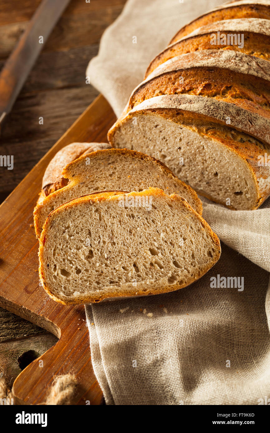 Homemade Crusty Rye Bread Ready to Eat - Stock Image