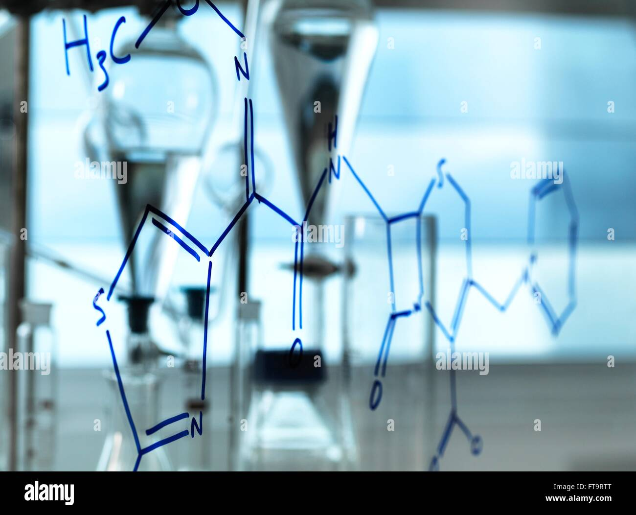 PROPERTY RELEASED. Chemical formula of drug drawn on a screen in a laboratory. - Stock Image