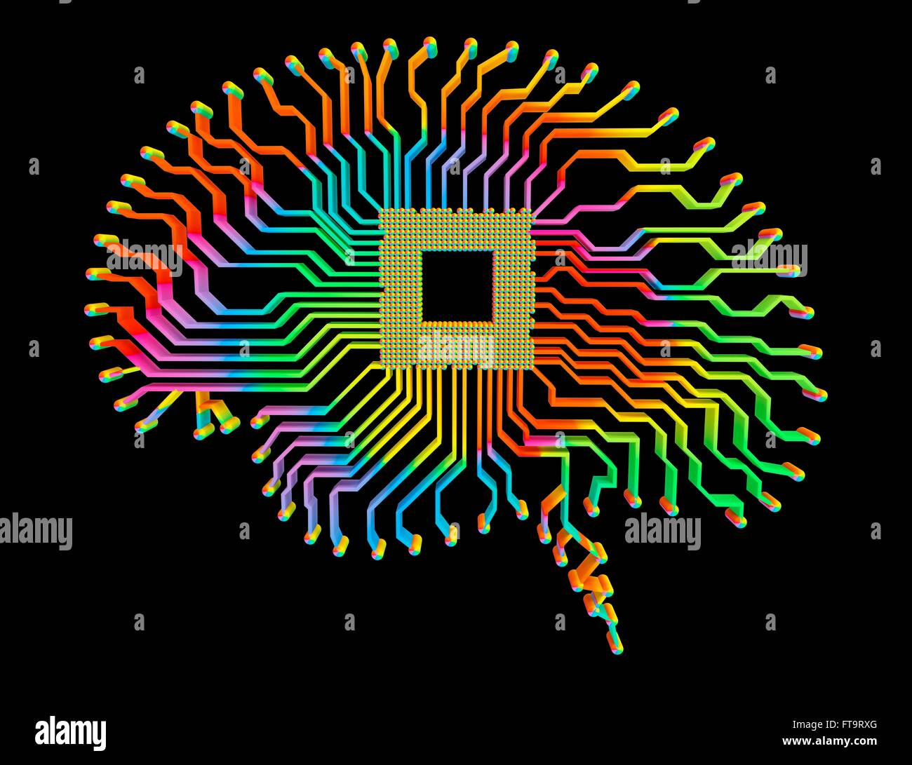 Printed Circuit Board Ics Chip Stock Photos Detail Of A Royalty Free Image Illustration Brain Shaped