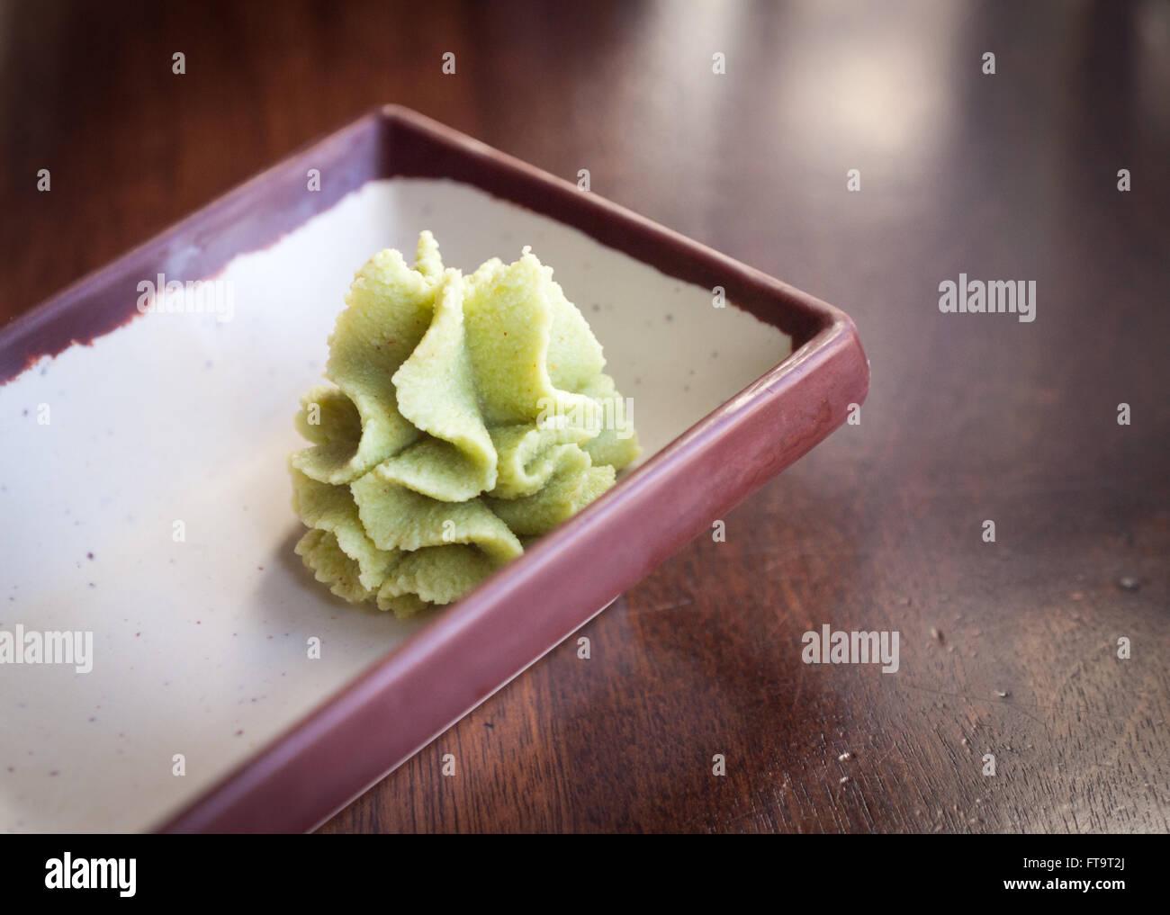 Imitation wasabi (seiyo-wasabi) paste. - Stock Image