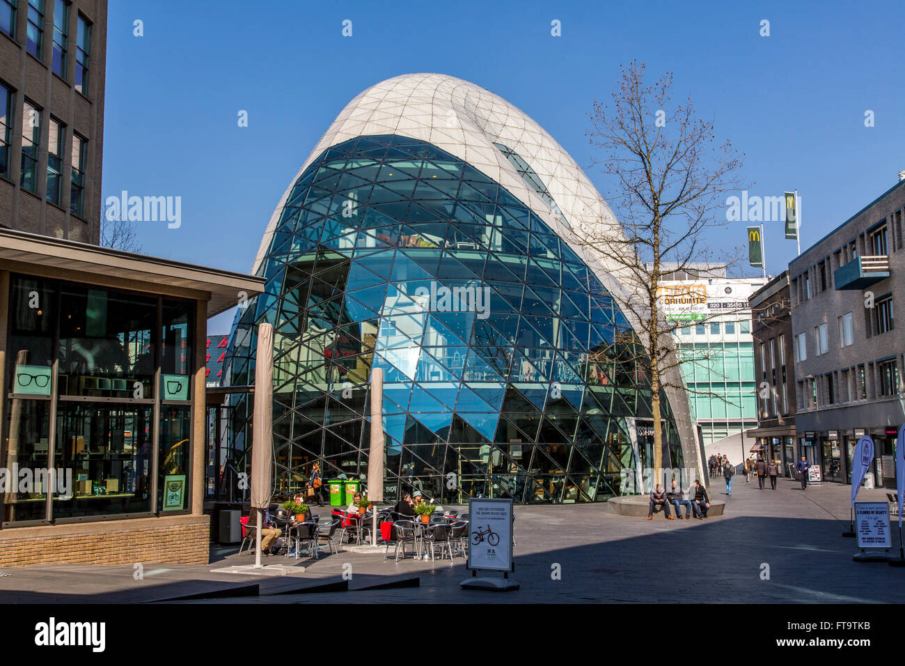 Commercial buildings with modern architecture, BLOB, Binary Large Object, in downtown Eindhoven, The etherlands, - Stock Image