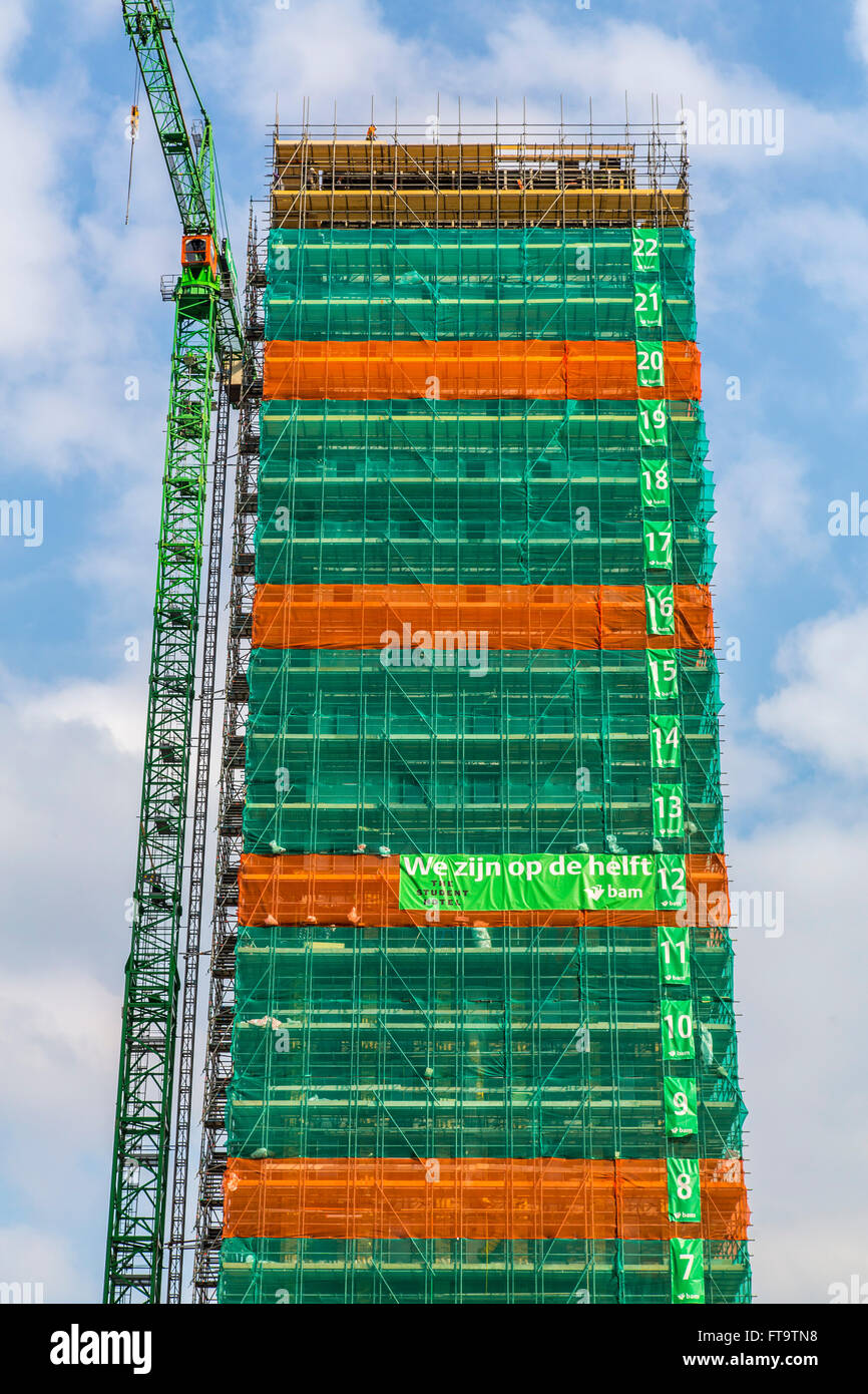 Construction site of a tall building, skyscraper, numbered