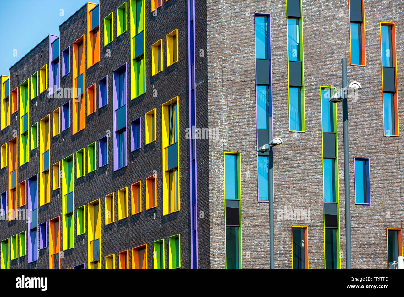 Facade of a modern building, with colorful window frames, Eindhoven ...