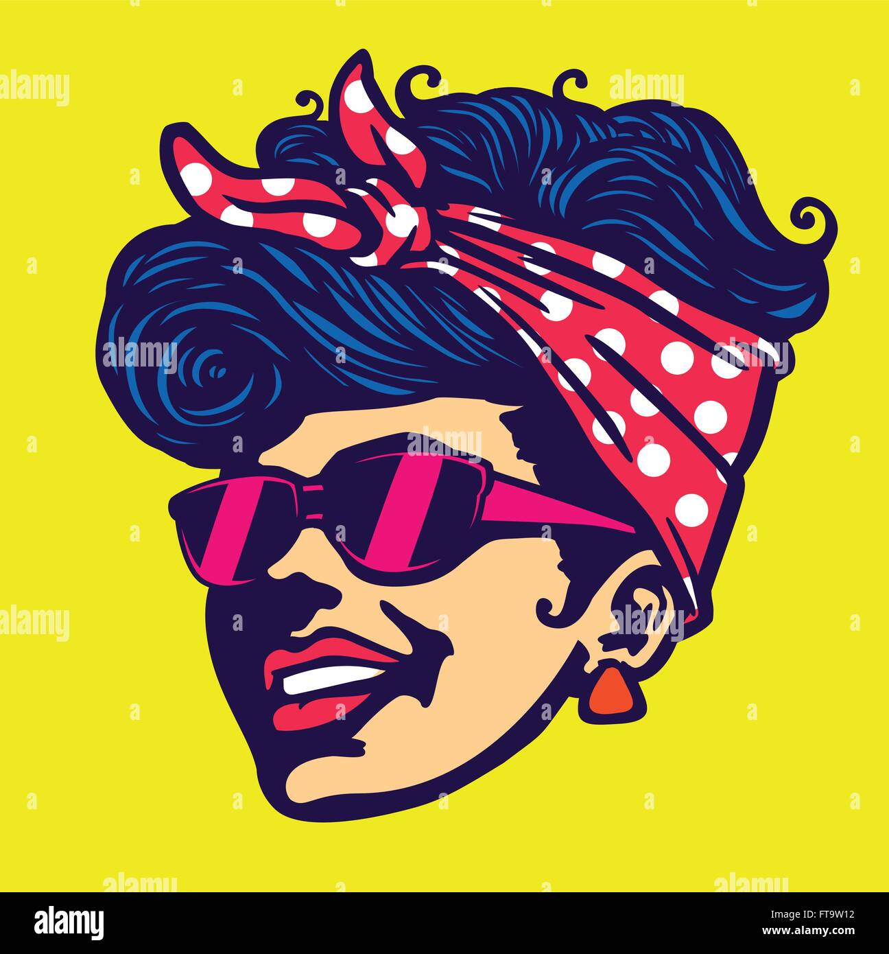 Vintage Retro Cool Girl Face Head Wearing Sunglasses Rockabilly