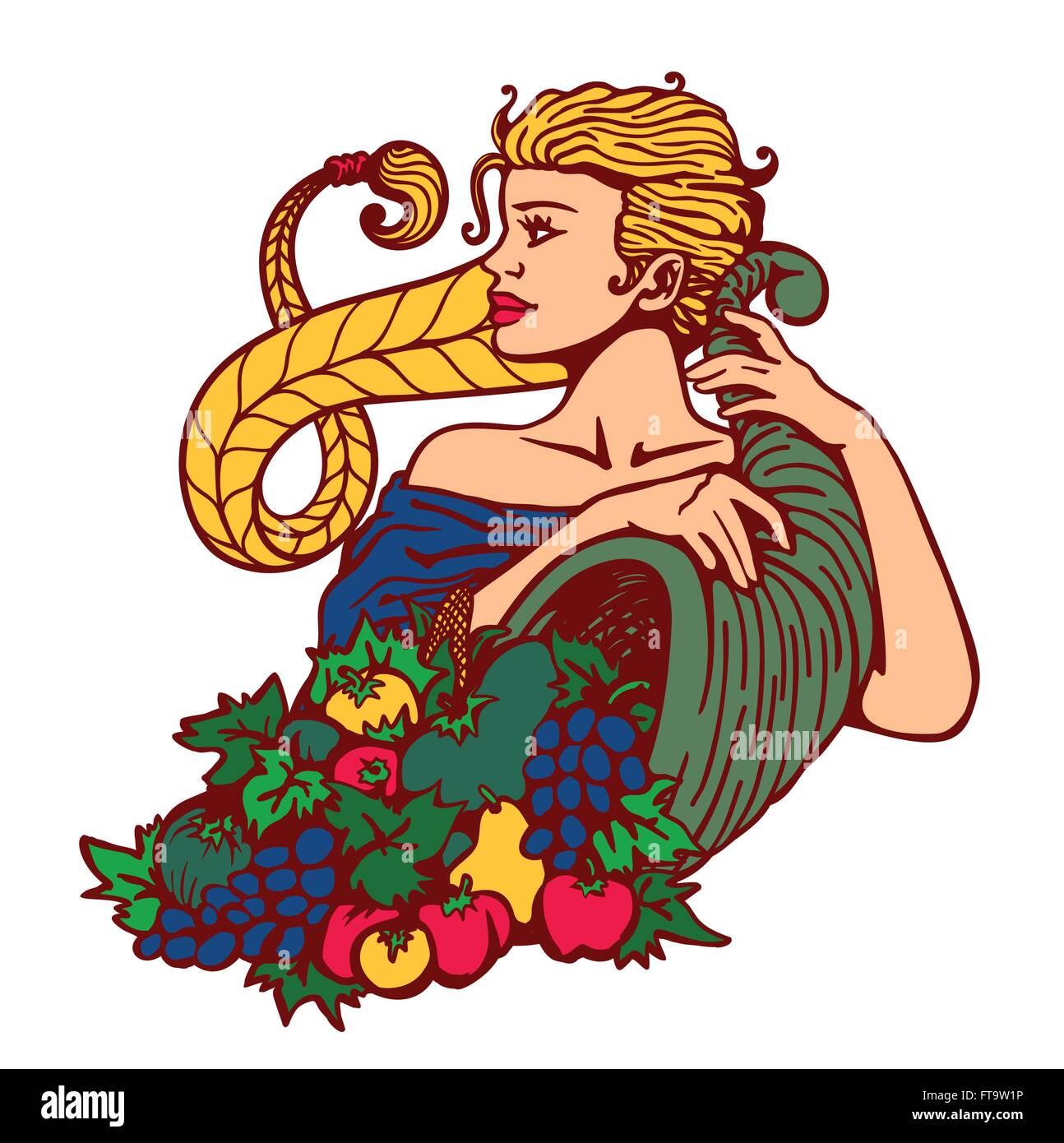 Girl with blond hair in plait holding cornucopia horn of plenty full of fruits and vegetables, autumn season harvest - Stock Image