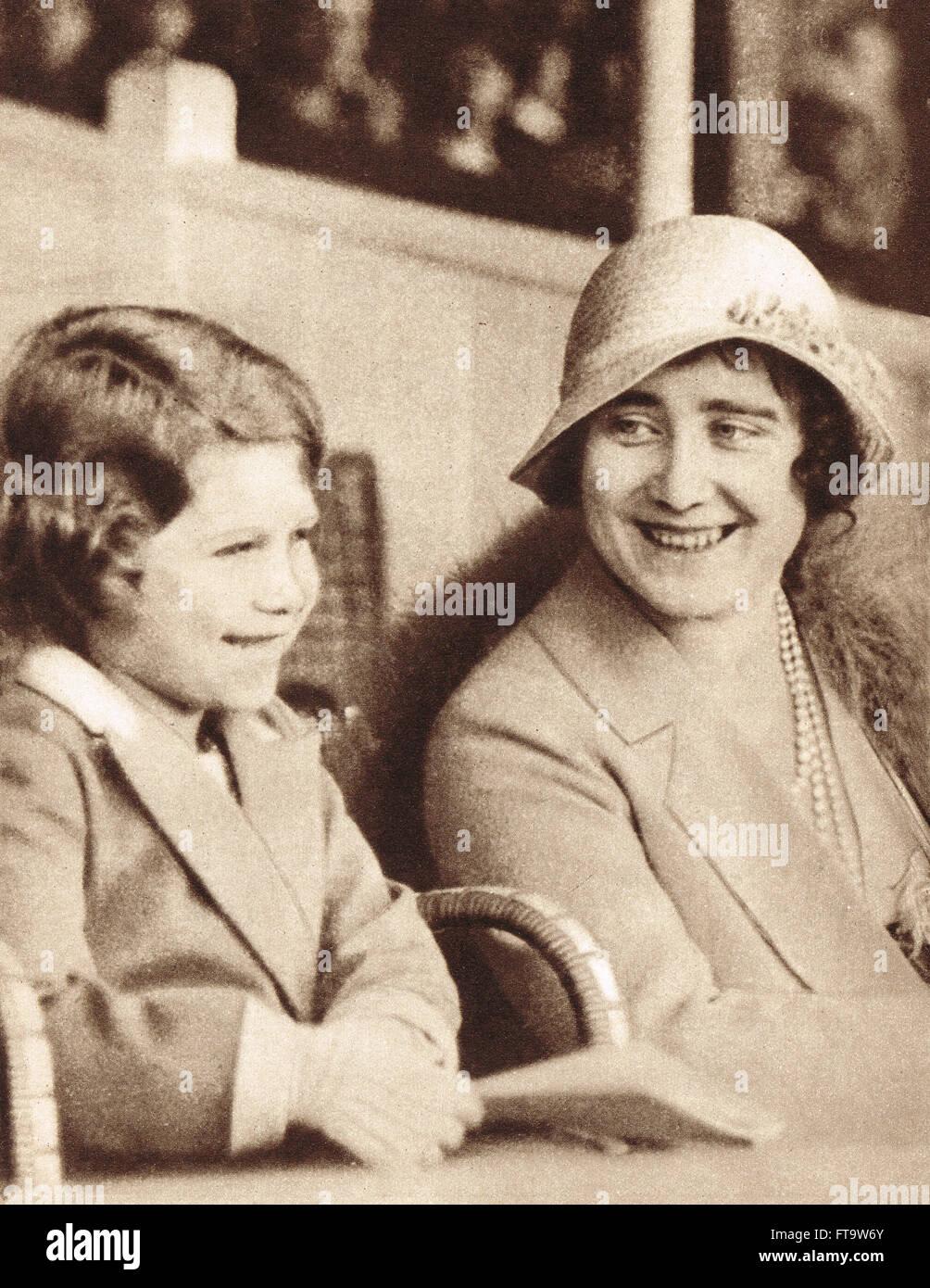 The future Elizabeth II age 6 at Aldershot Tattoo 1932 - Stock Image