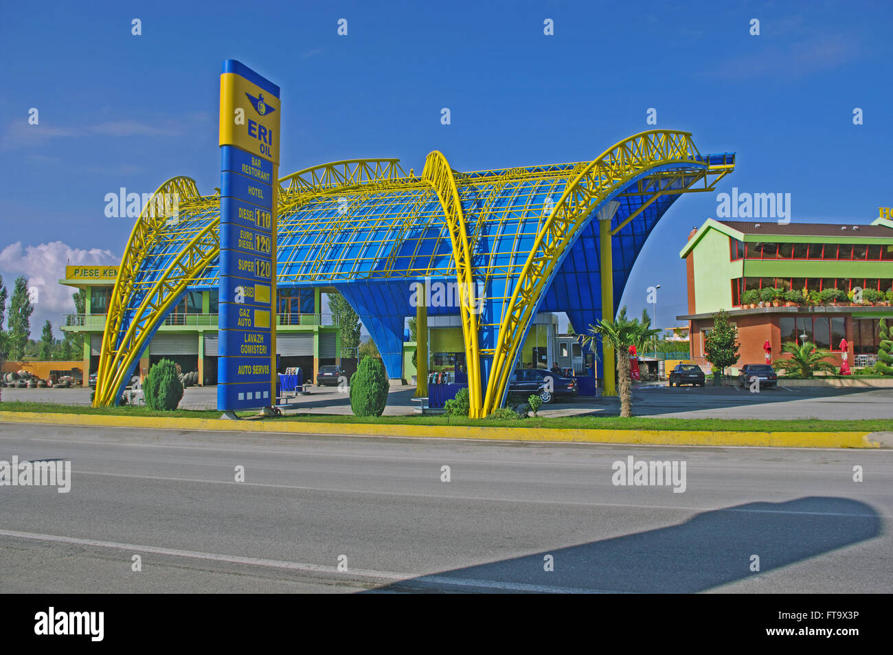 Petrol Station from Durres. on E762 Road, Albania - Stock Image