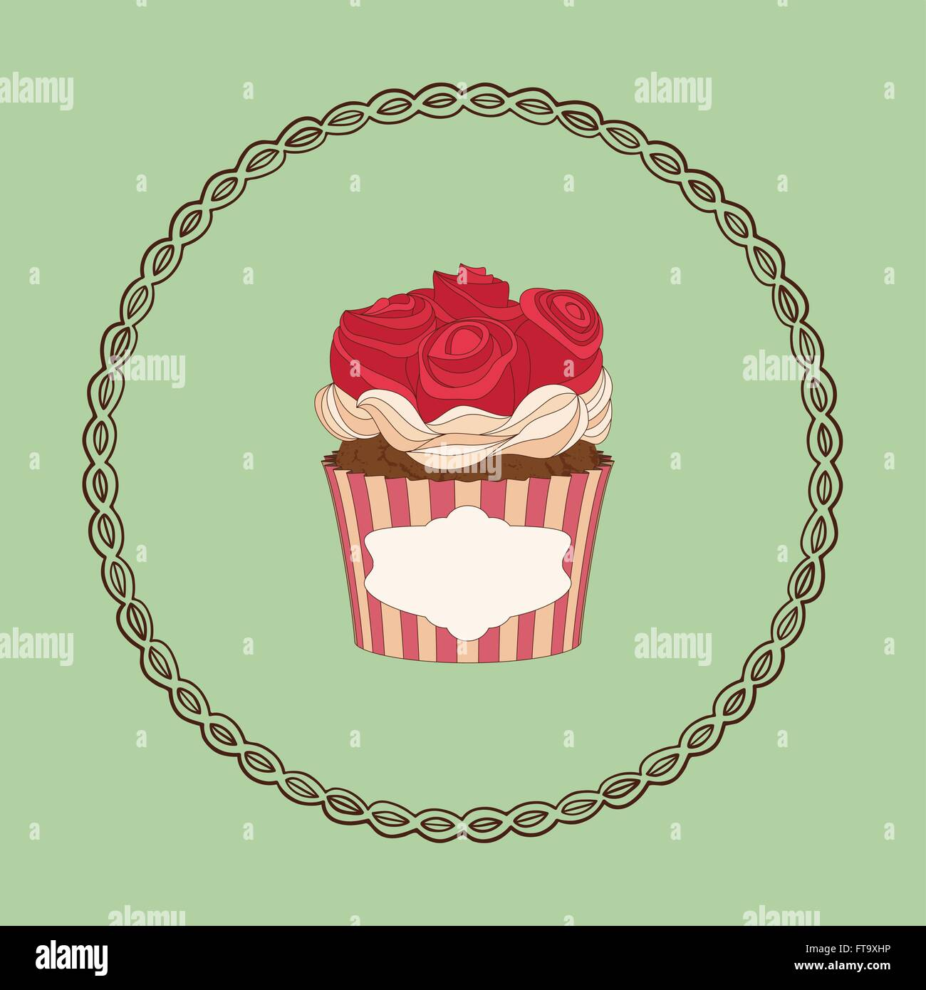 Cupcake And Doodle Frame Ideal For Posters Advertisements Stock
