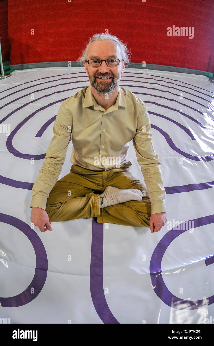 Lisburn, Northern Ireland. 25 Mar 2016 - Tony Christie from Labyrinths Ireland at the Food for the Soul Festival. - Stock Image