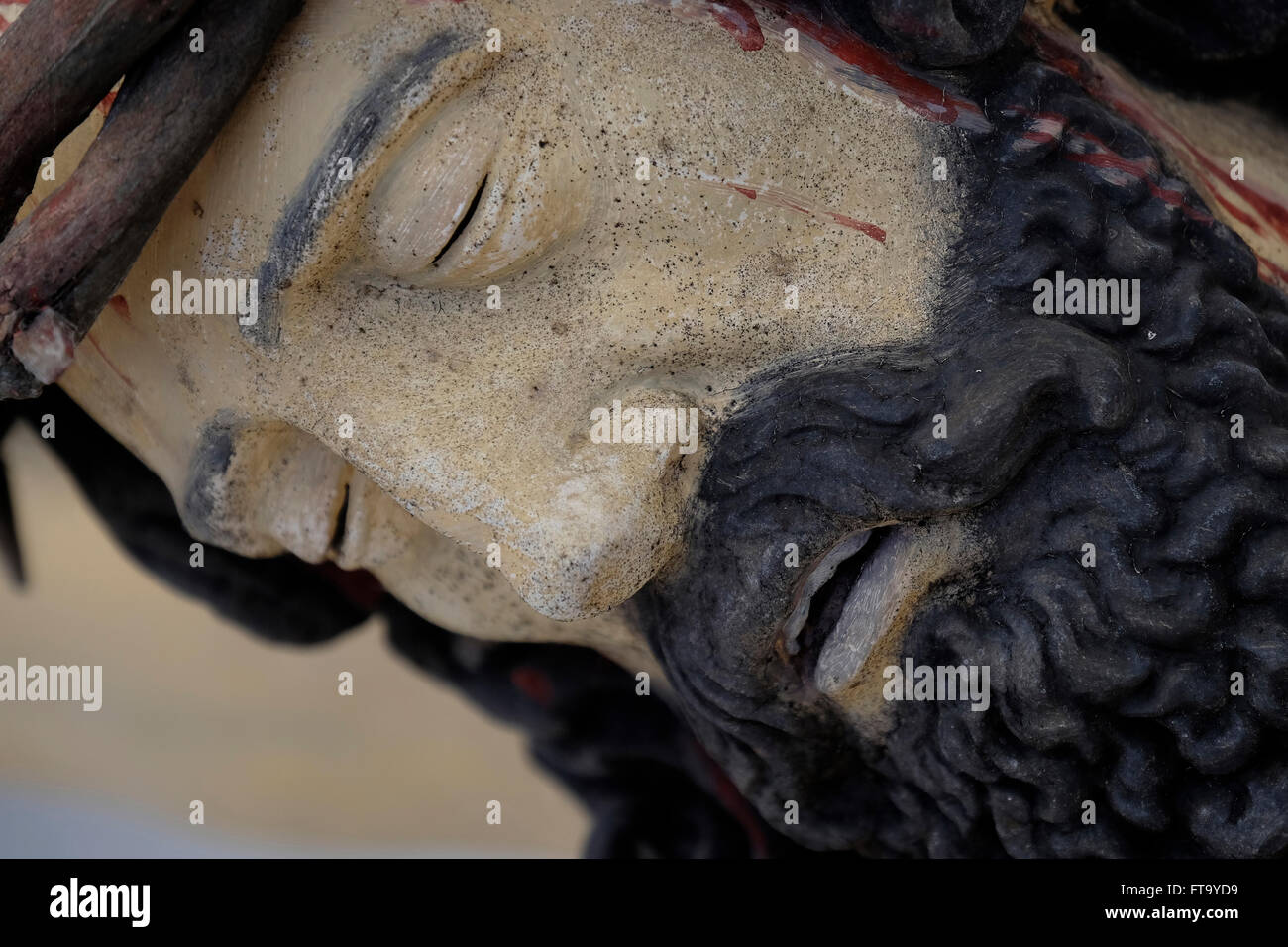 Jesus statue in St. Margareth Church Cemetery in Bayrischzell, Bavaria, Germany. - Stock Image