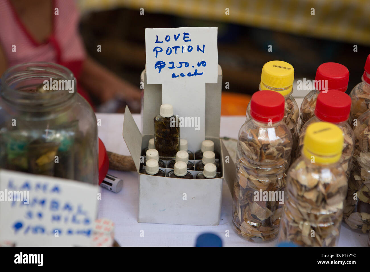 A Love Potion available for sale at the annual Healing Festival during Holy Week on Siquijor Island,Philippines - Stock Image