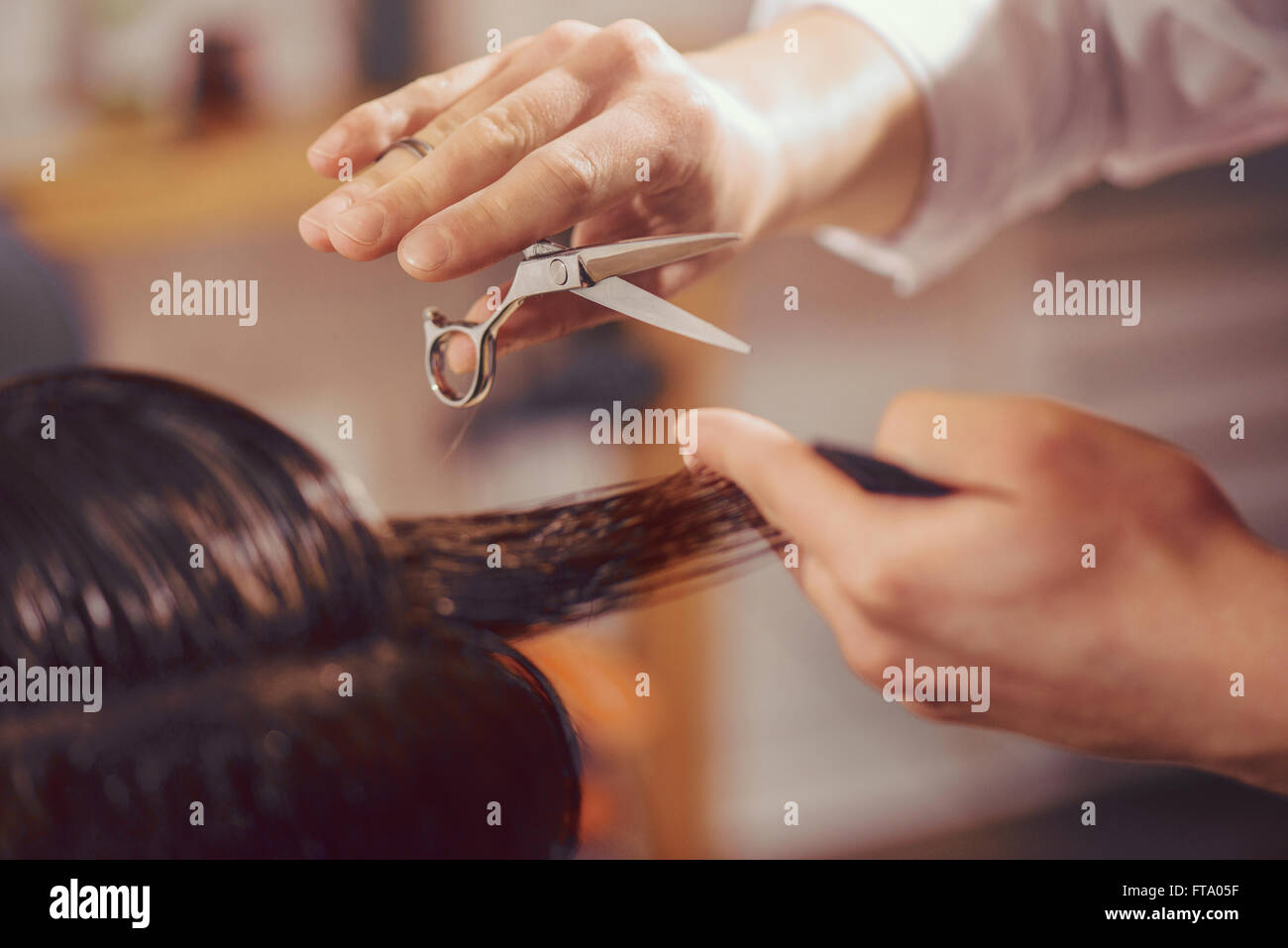 Professional barber cutting hair of his client - Stock Image