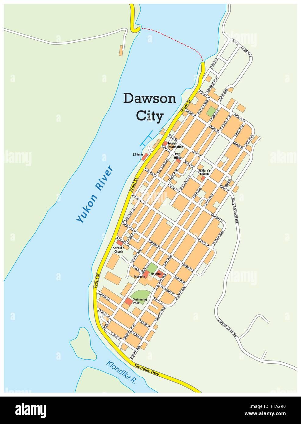 Map Of Dawson City Canada city map of dawson city yukon territory canada Stock Vector Image