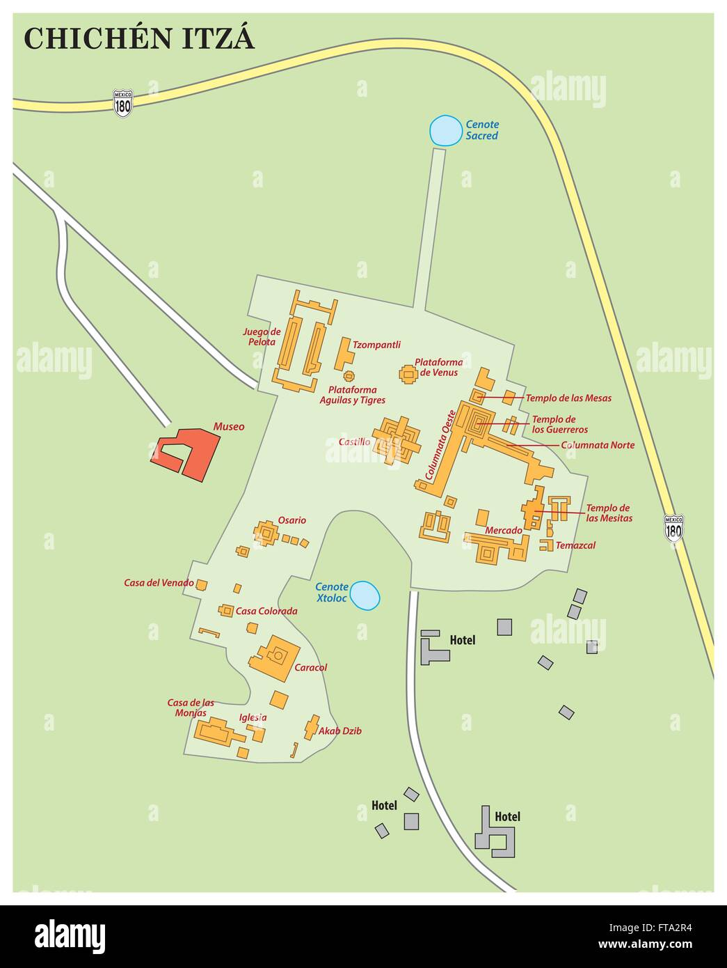 Map Of Maya Ruin Site Chichen Itza On The Yucatan Peninsula Mexico