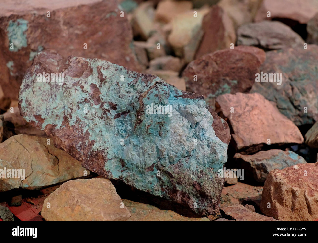 A copper stone from Timna copper mine in southern Israel - Stock Image