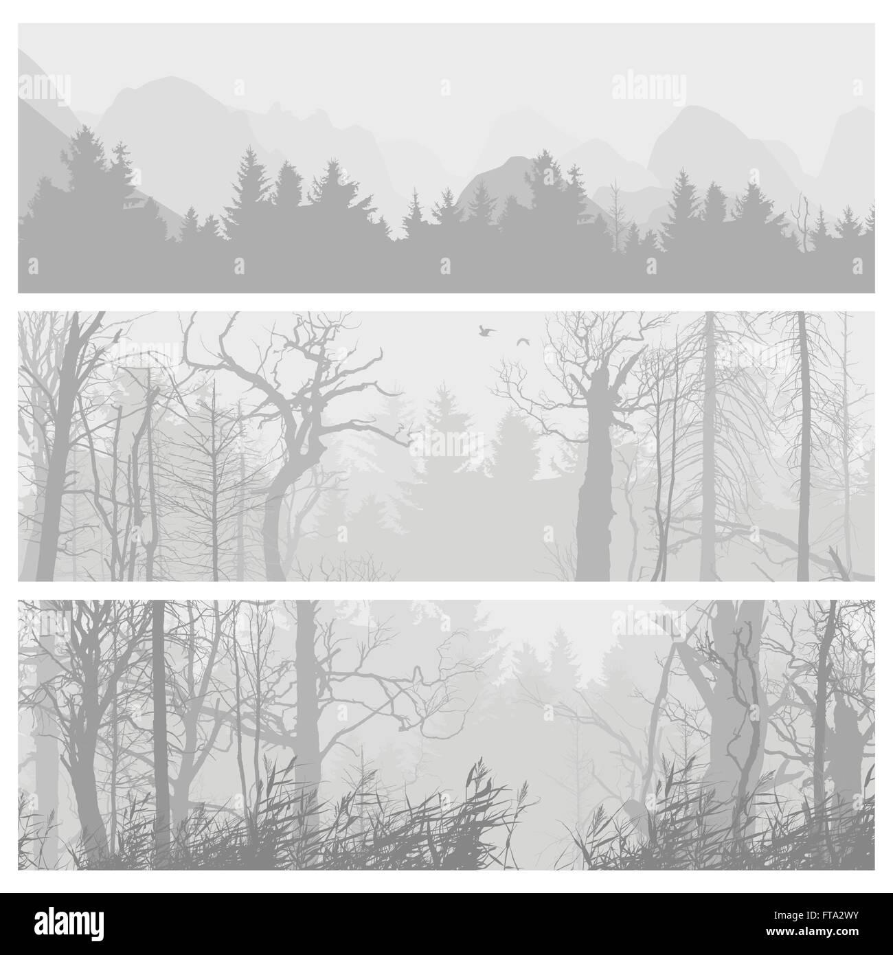 wild forest horizontal banners stock vector art illustration