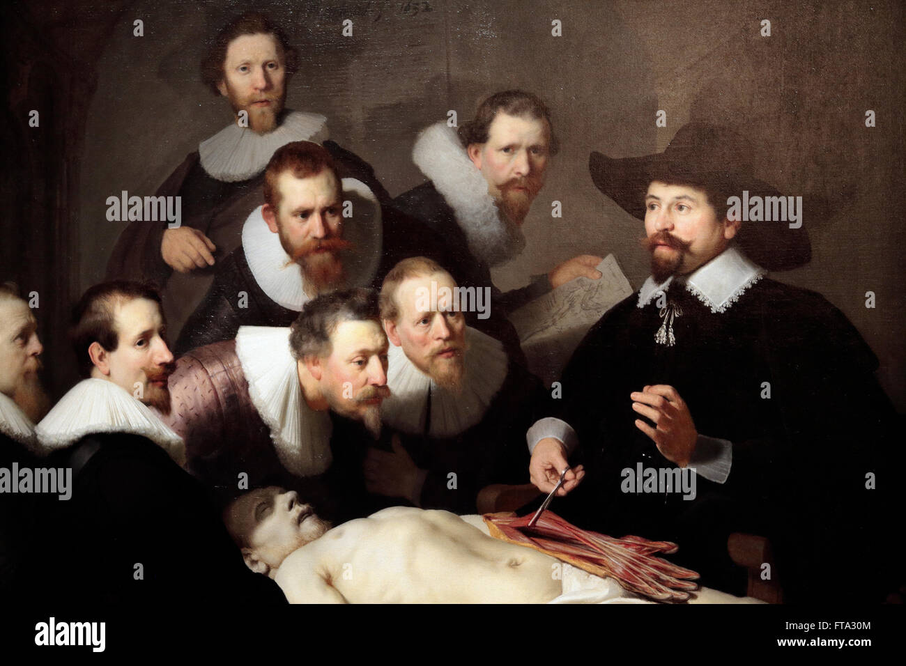 Detail Of The Anatomy Lesson Of Dr Nicolaes Tulp By Rembrandt On