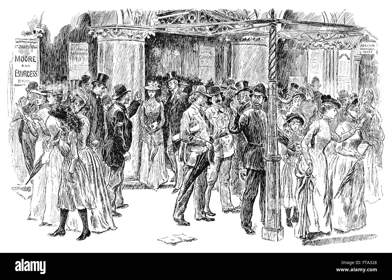 Black and white engraving of Victorians leaving St. James's Hall, Piccadilly, London after an afternoon concert. - Stock Image