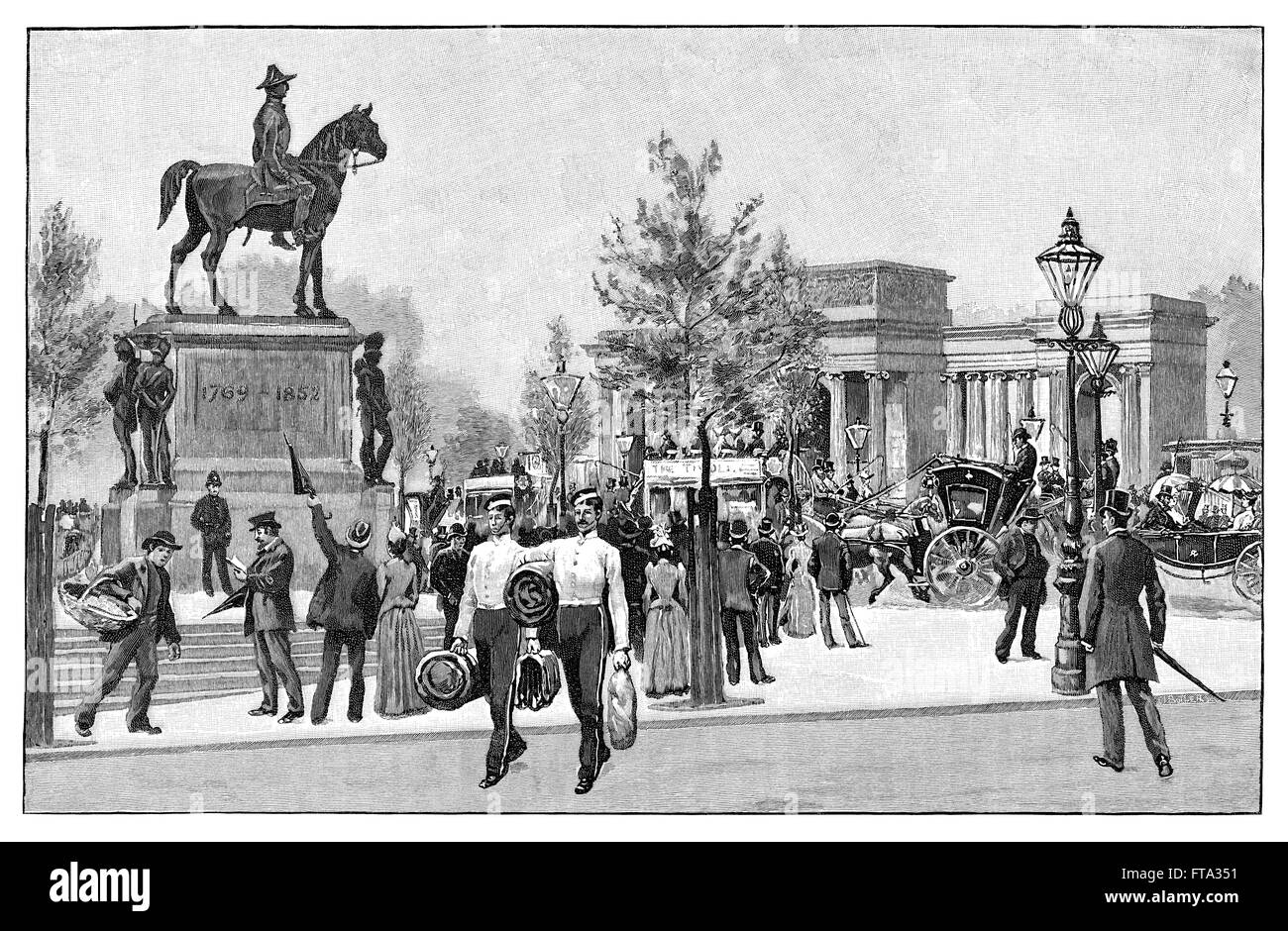 Black and white engraving of Hyde Park Corner, London, showing the Duke Of Wellington statue and Decimus Burton's - Stock Image