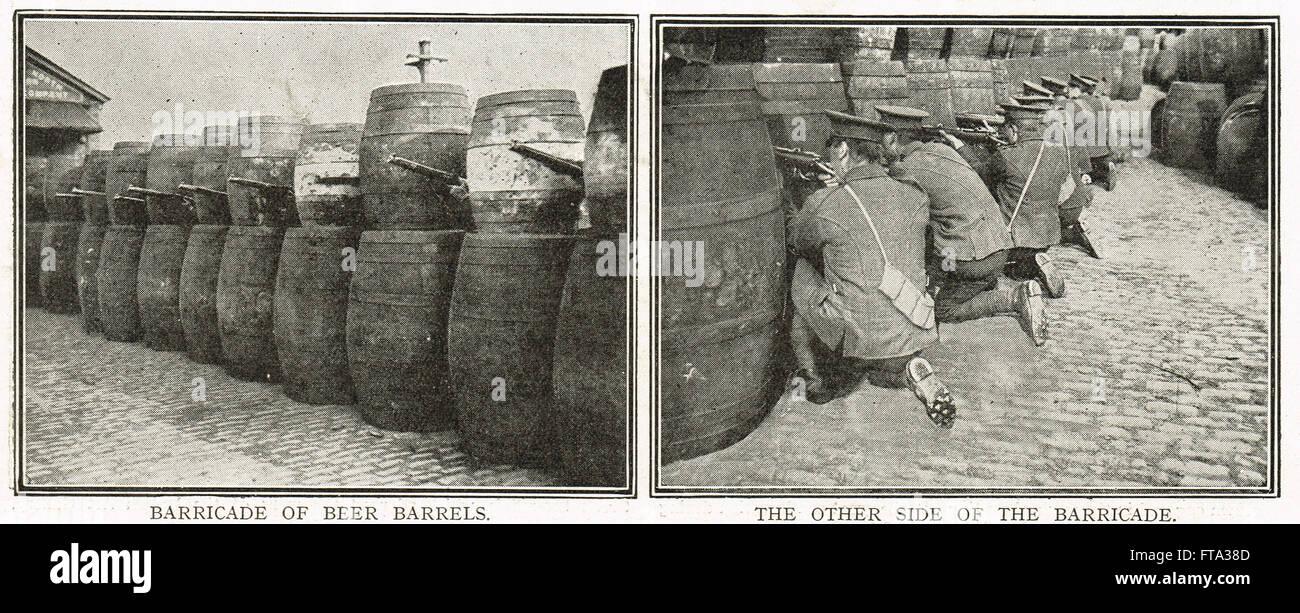 Easter uprising 1916 British Army improvised beer Barrel Barricades Stock Photo
