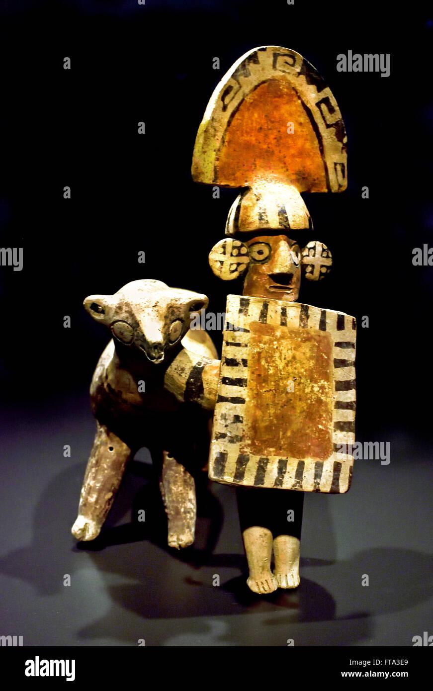 Warrior with Lama  300-600  Recuay  Peru Ceramic Peruvian South America American - Stock Image
