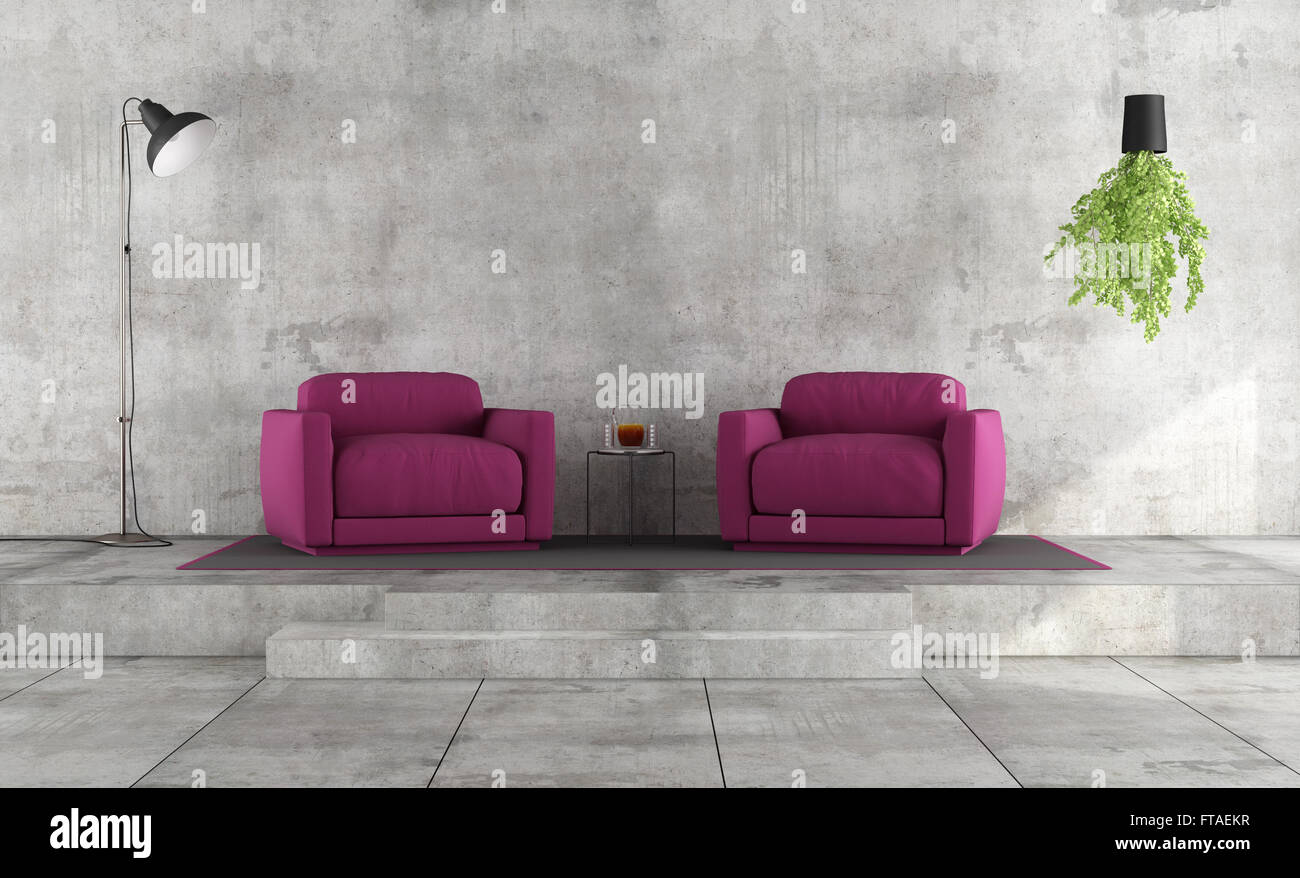Minimalist Living Room With Grunge Concrete Wall And Purple Armchairs On  Platform   3D Rendering