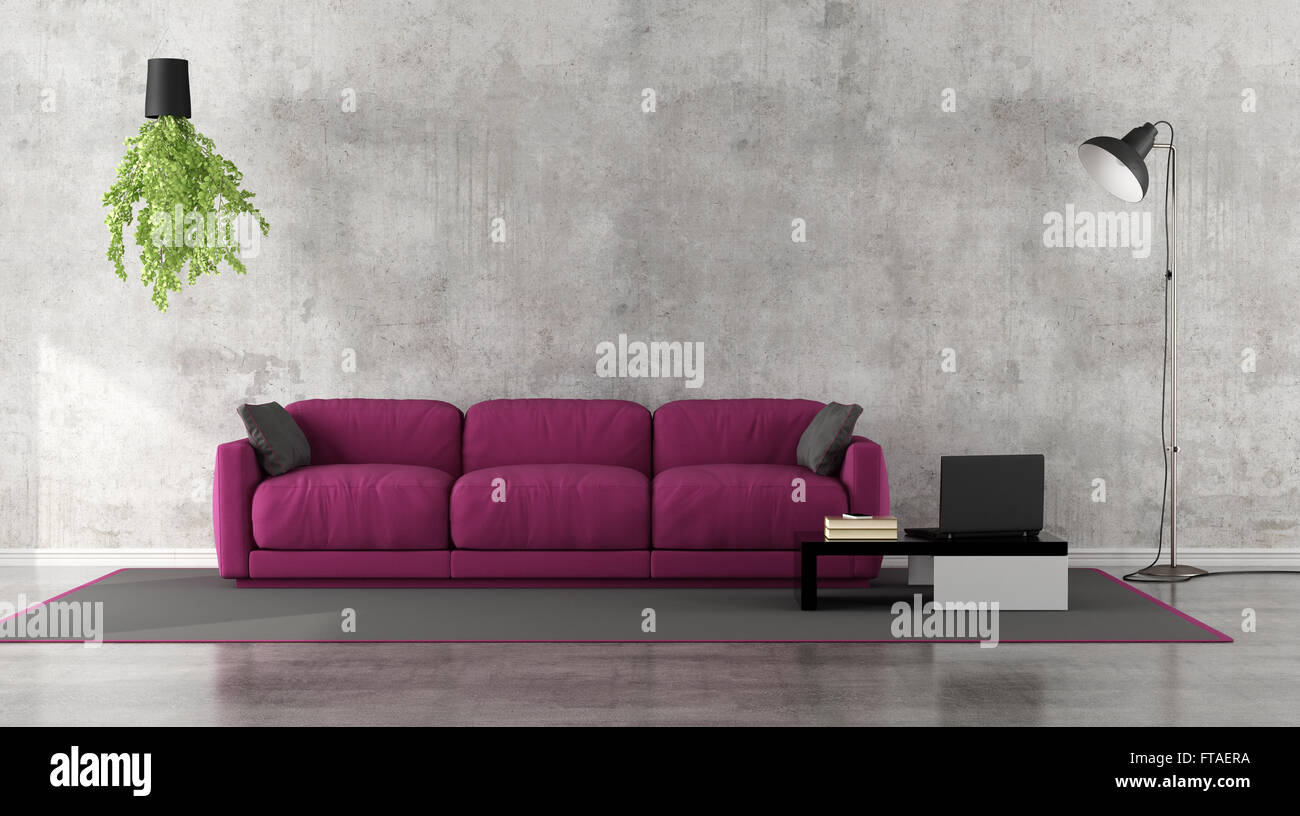 Minimalist Purple Living Room White Couch Stock Photos ...