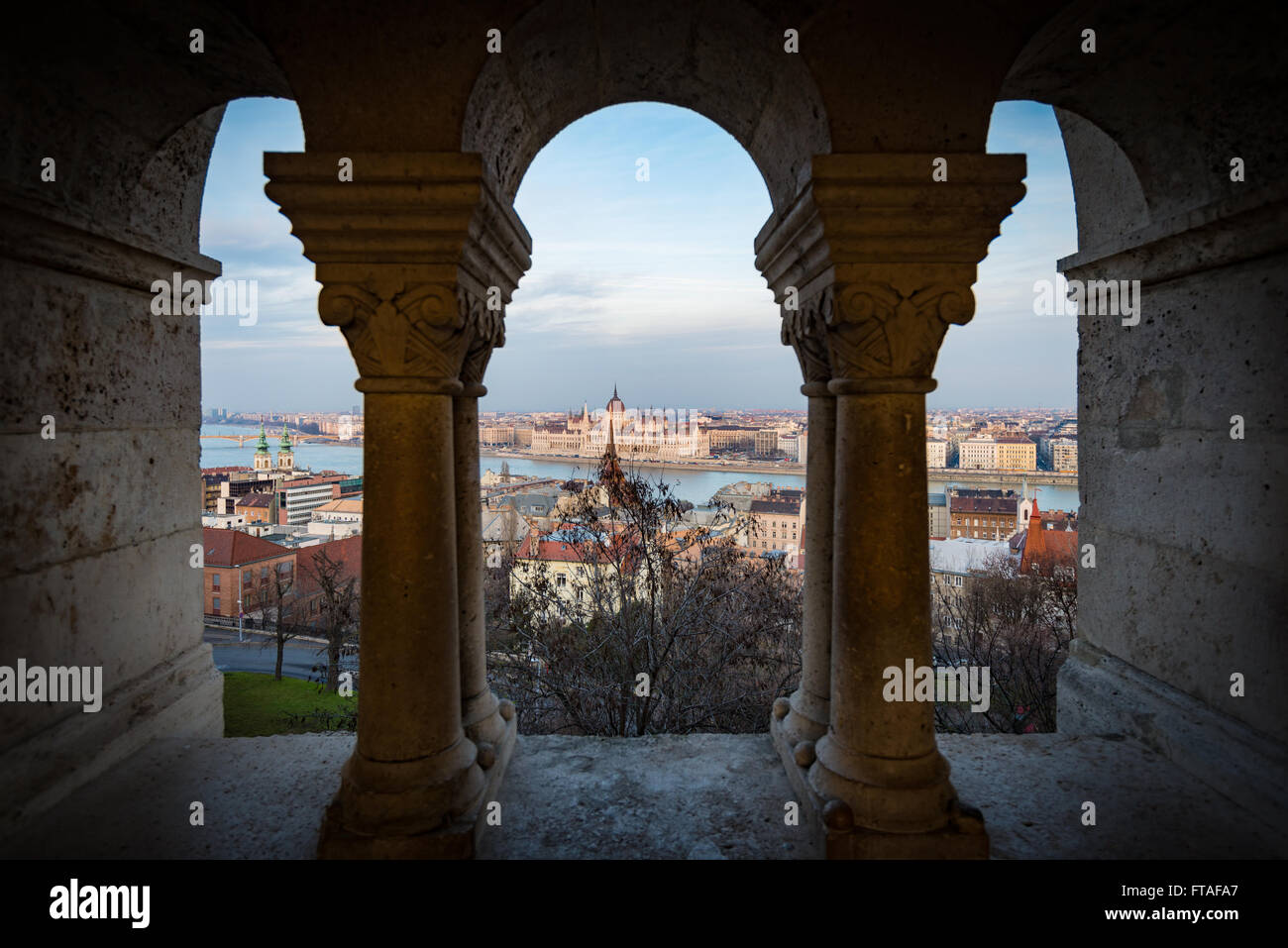 View on parliament building and Danube river from fisherman bastion on Buda hill. Budapest, Hungary, Europe travel. - Stock Image
