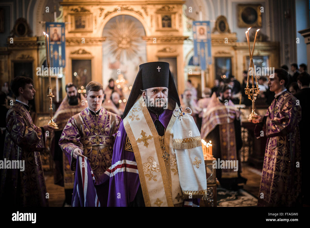 A Russian Orthodox priest during Holy Week services at the Theological Academy March 25, 2016 in Saint Petersburg, - Stock Image