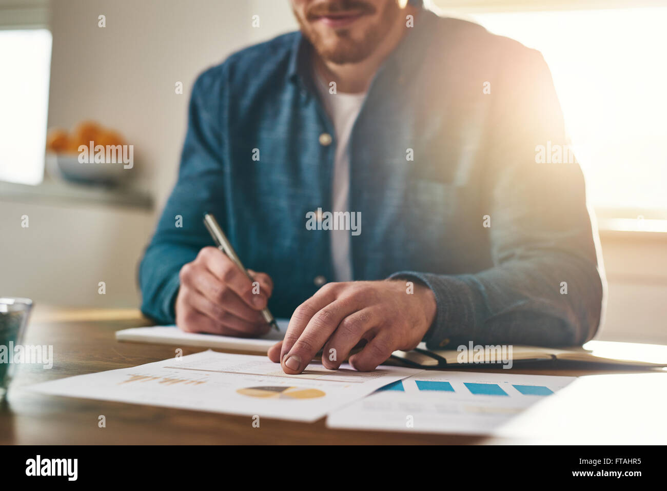 Businessman analysing statistical charts and graphs as he sits writing notes at his desk in a home office, low angle - Stock Image