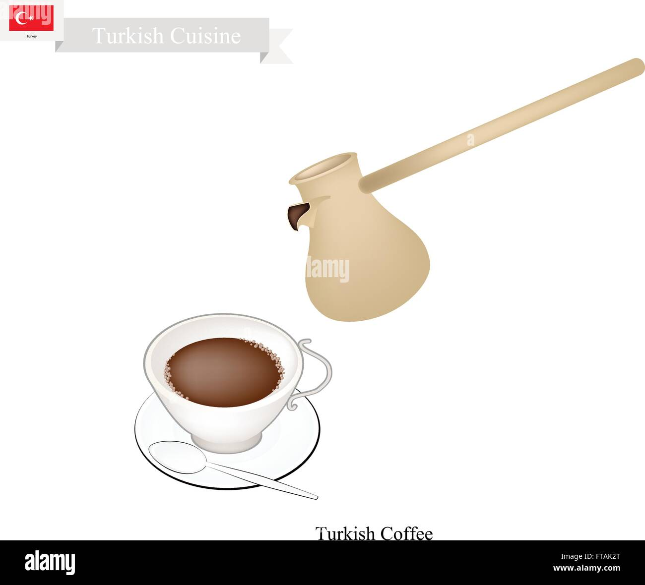 Turkish Cuisine, Turkish Coffee with Cezve or Turkish Coffee Pot. One of The Popular Beverage in Turkey. - Stock Vector