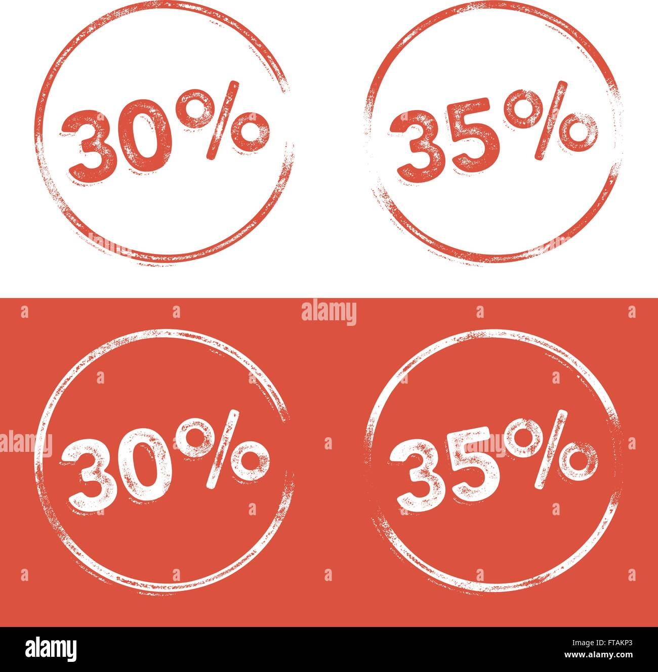30 percent and 35 percent stamp print illustration in a letterpress, grunge look - Stock Vector