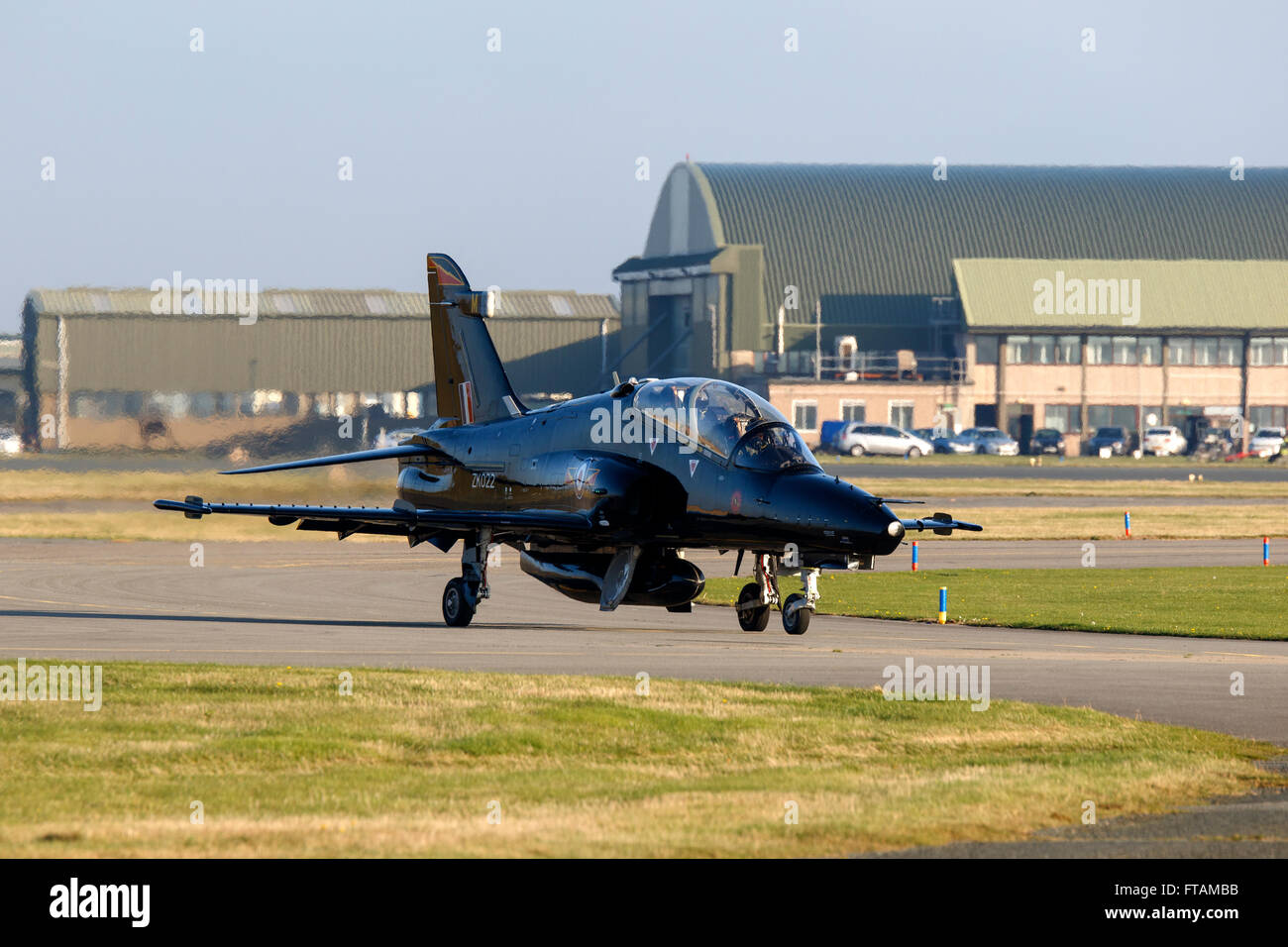 British Aerospace Hawk T2 ZK022 of 4 Squadron RAF Valley taxiing - Stock Image