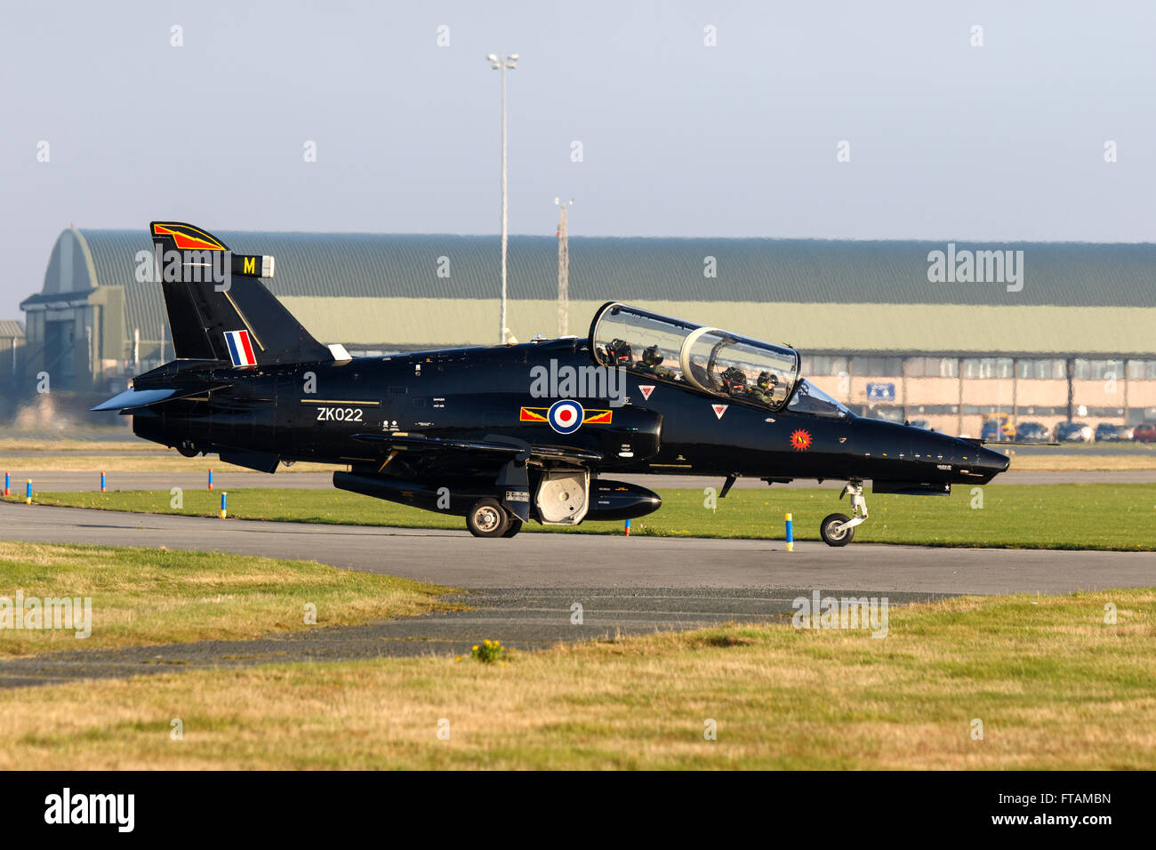 British Aerospace Hawk T2 ZK022 M taxiing at RAF Valley - Stock Image