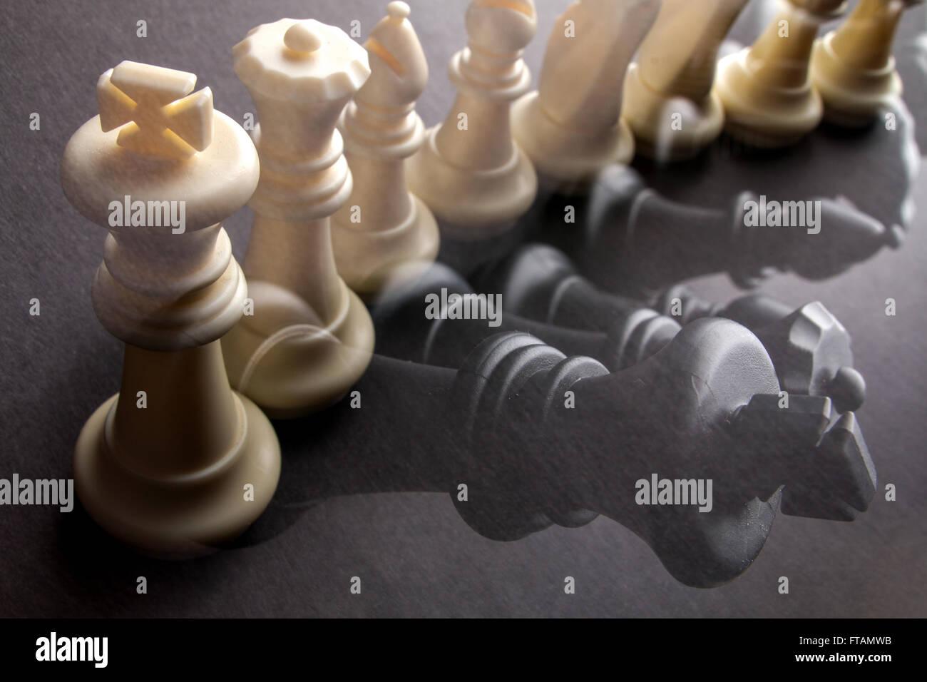 row chessmen Multiple chess background image illustration - Stock Image