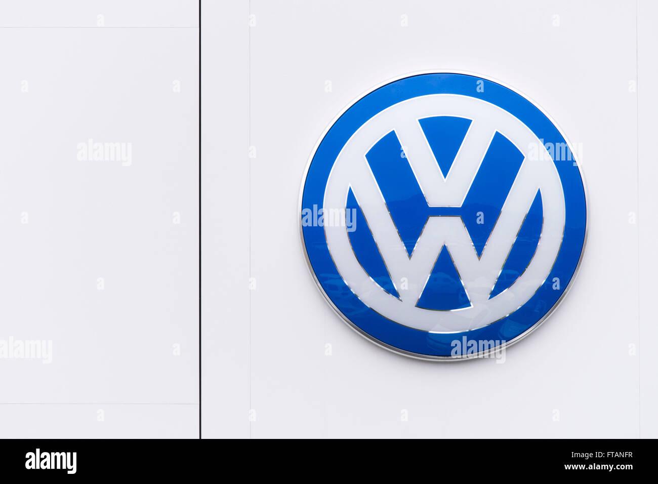 Volkswagen (VW) car manufacturer sign logo. - Stock Image