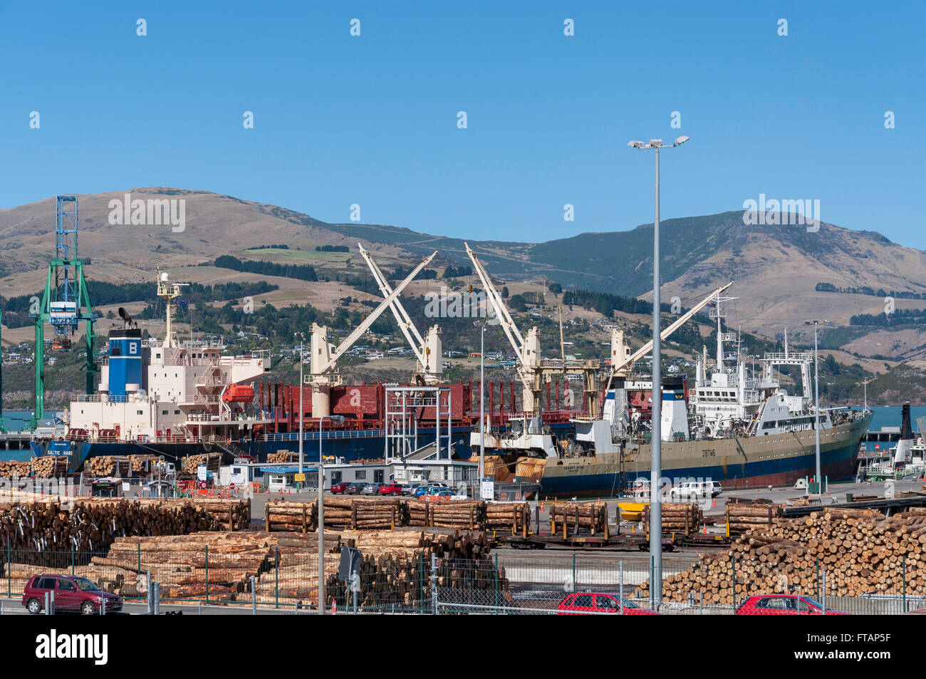 Piles of logs ready for loading at Container Port, Lyttelton Harbour, Lyttelton, Banks Peninsula, Canterbury, New - Stock Image