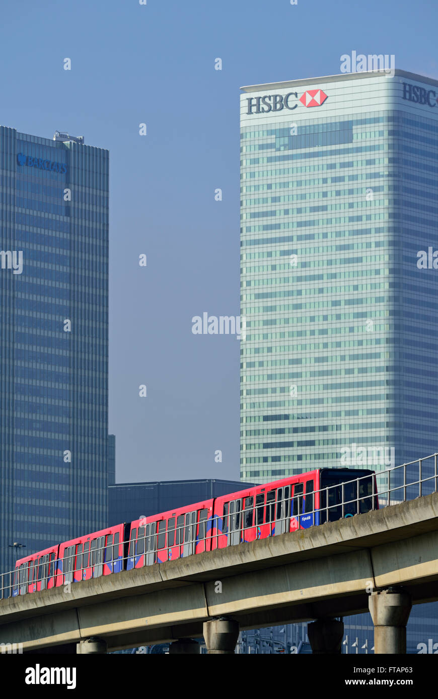 Docklands Light Railway, Canary Wharf, London E14, United Kingdom - Stock Image