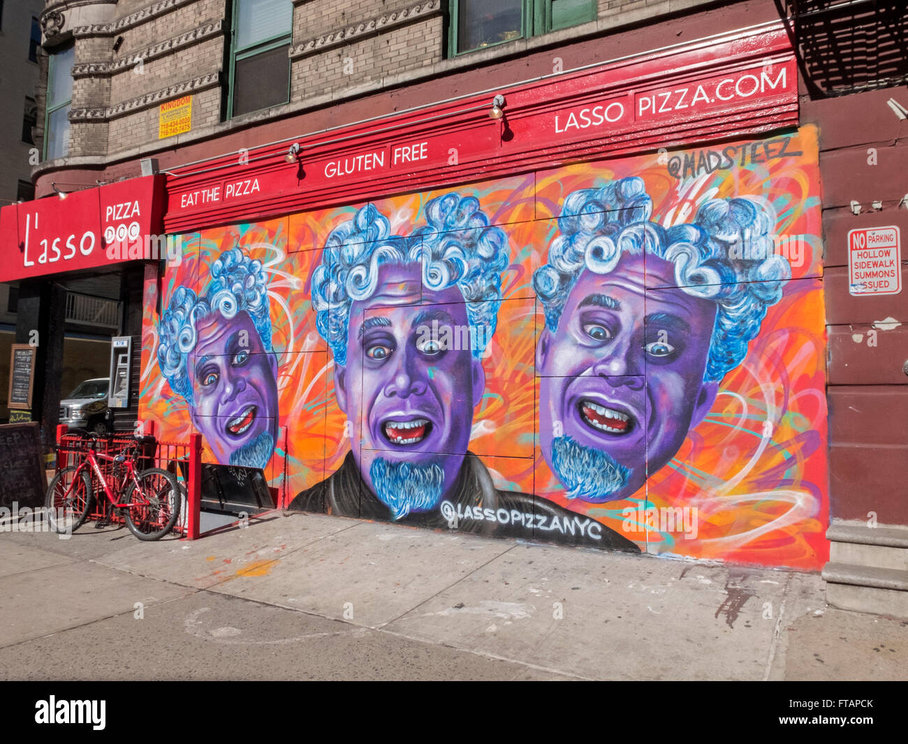 Graffiti Wall At The Side Of Lasso Italian Restaurant On Kenmare Street Corner Of Mott In The Nolita Section Of Downtown Nyc