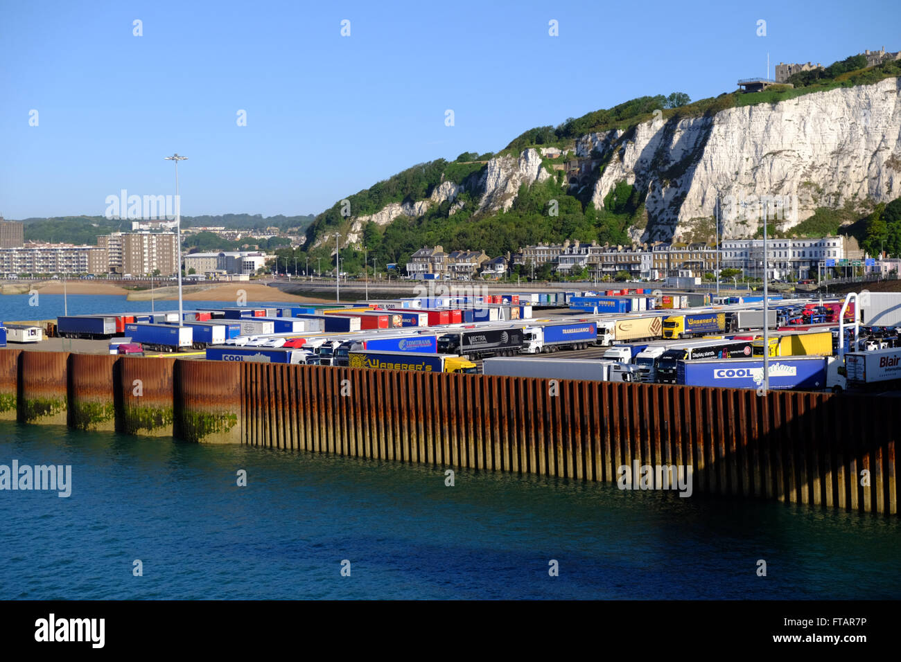 Parked lorries in the Port of Dover, Kent, UK - Stock Image