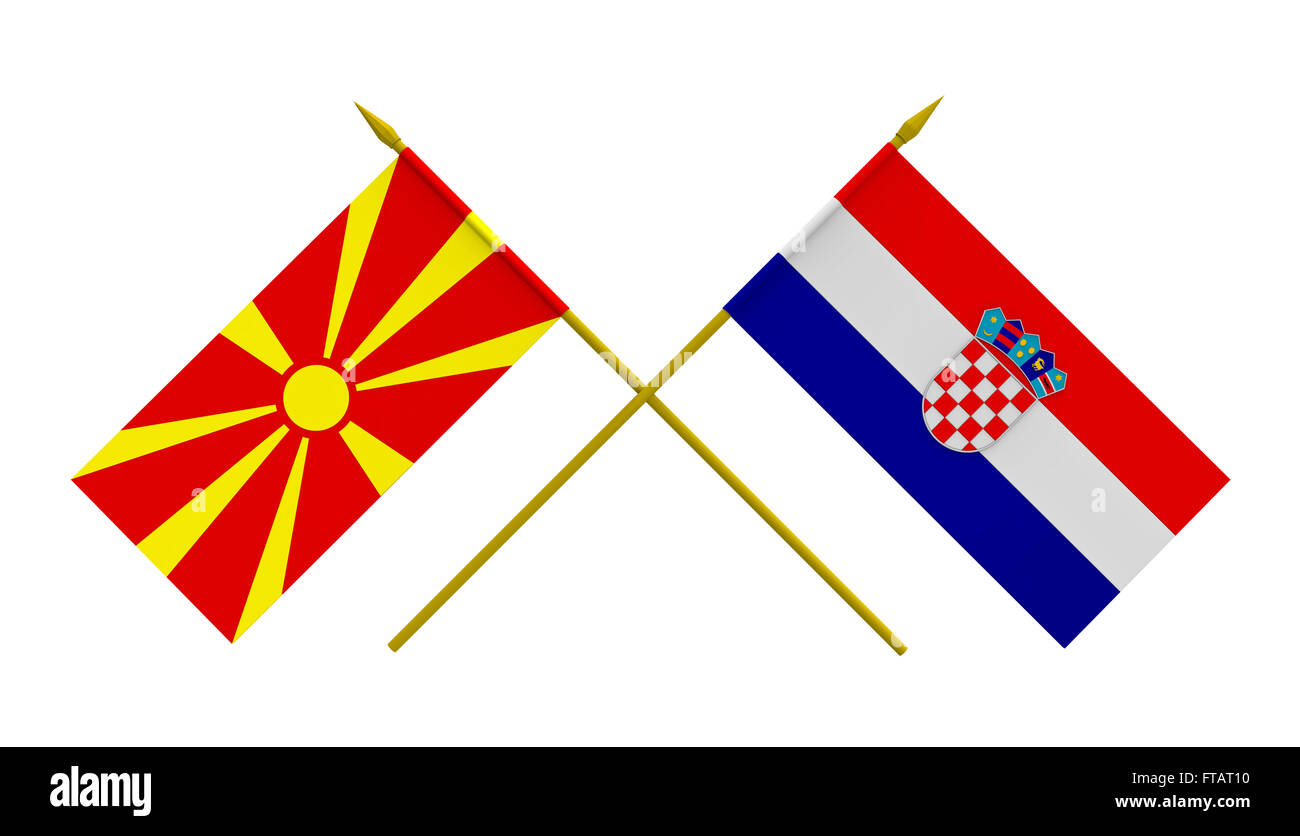 Flags of Croatia and Macedonia, 3d render, isolated - Stock Image