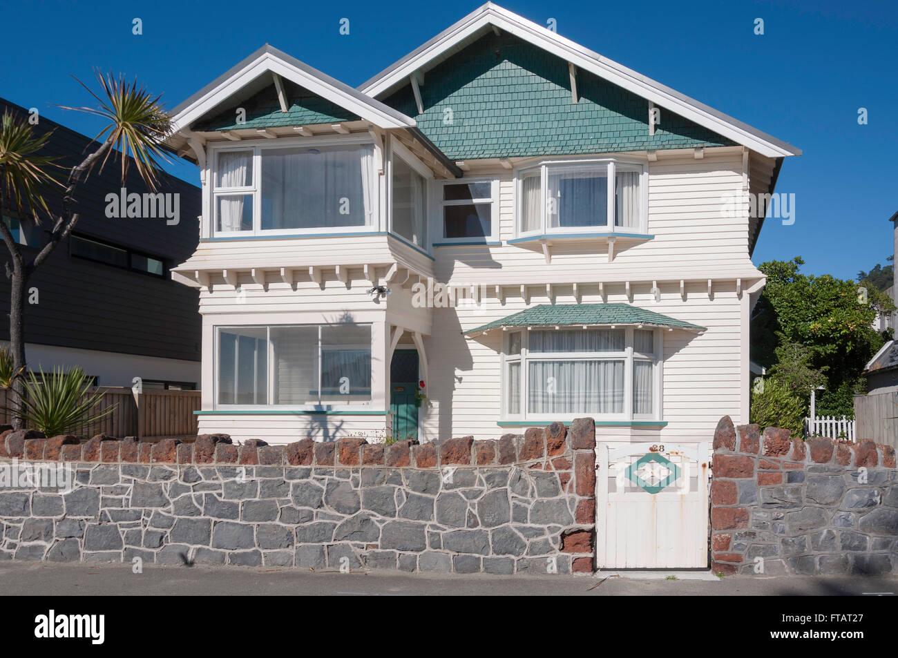 Edwardian seafront house, Esplanade, Sumner, Christchurch, Canterbury Region, South Island, New Zealand Stock Photo